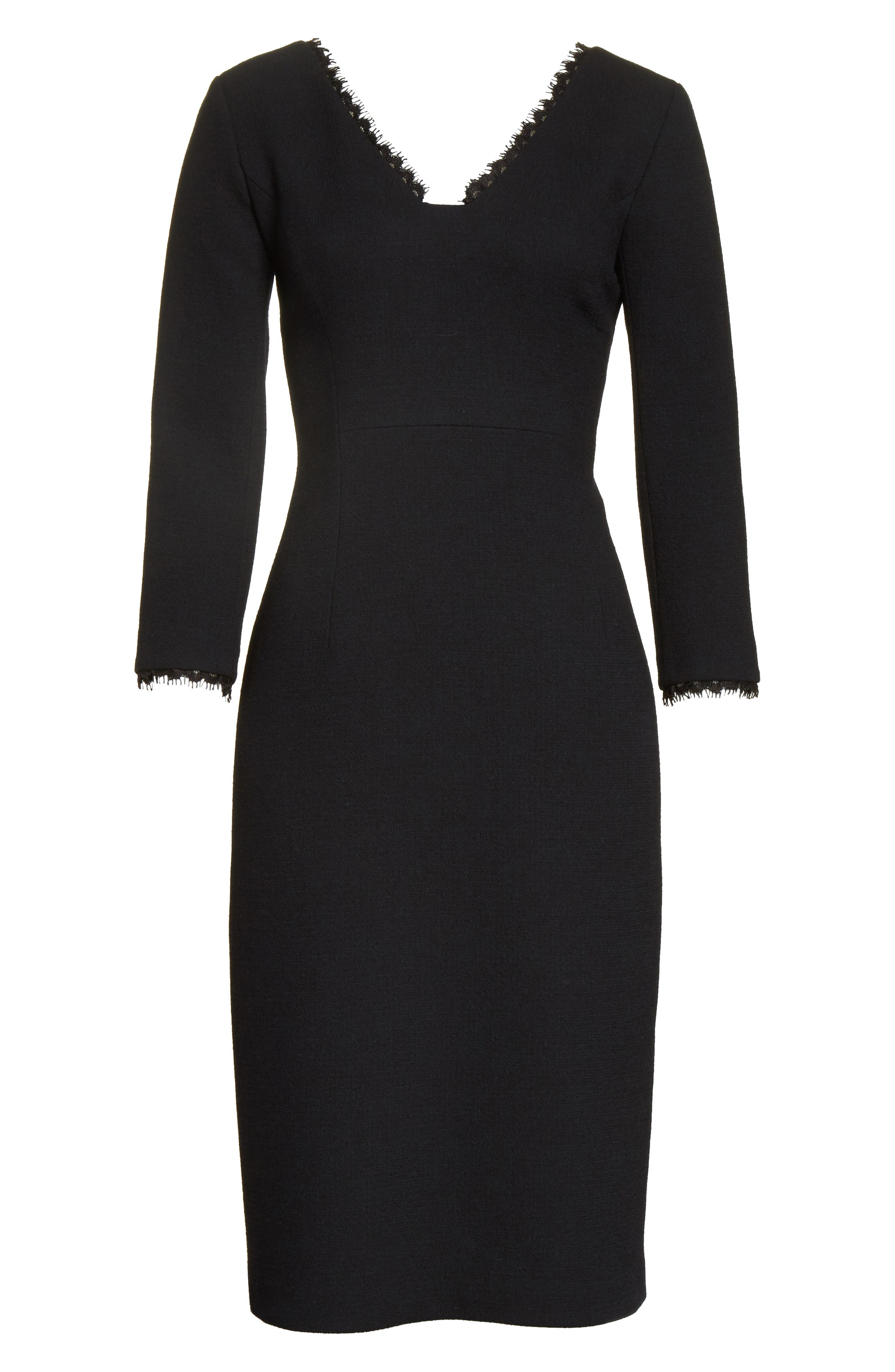 Shandy Lace Trim Wool Dress,                             Alternate thumbnail 6, color,                             001