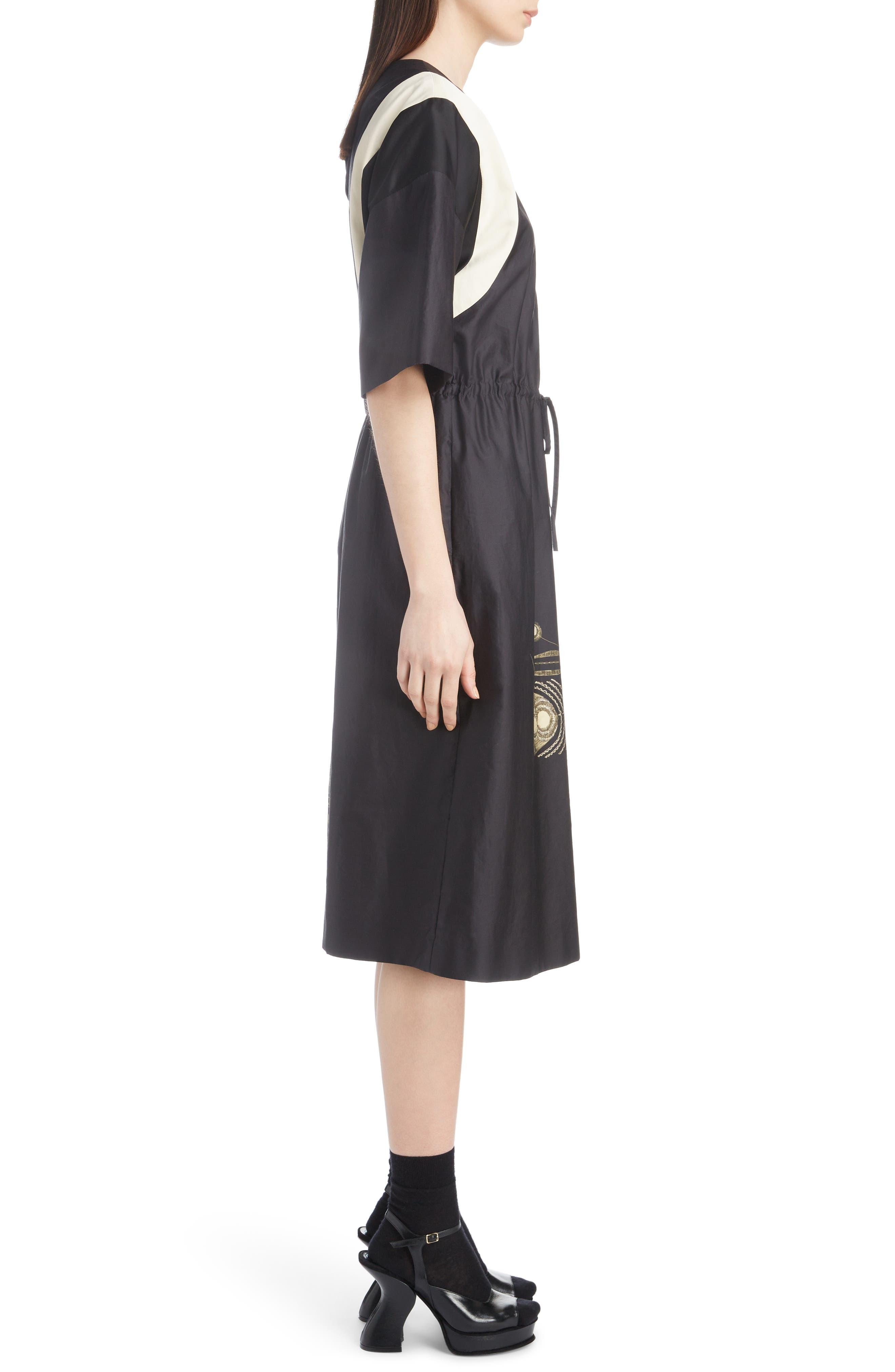 Placed Print Poplin Dress,                             Alternate thumbnail 3, color,                             BLACK