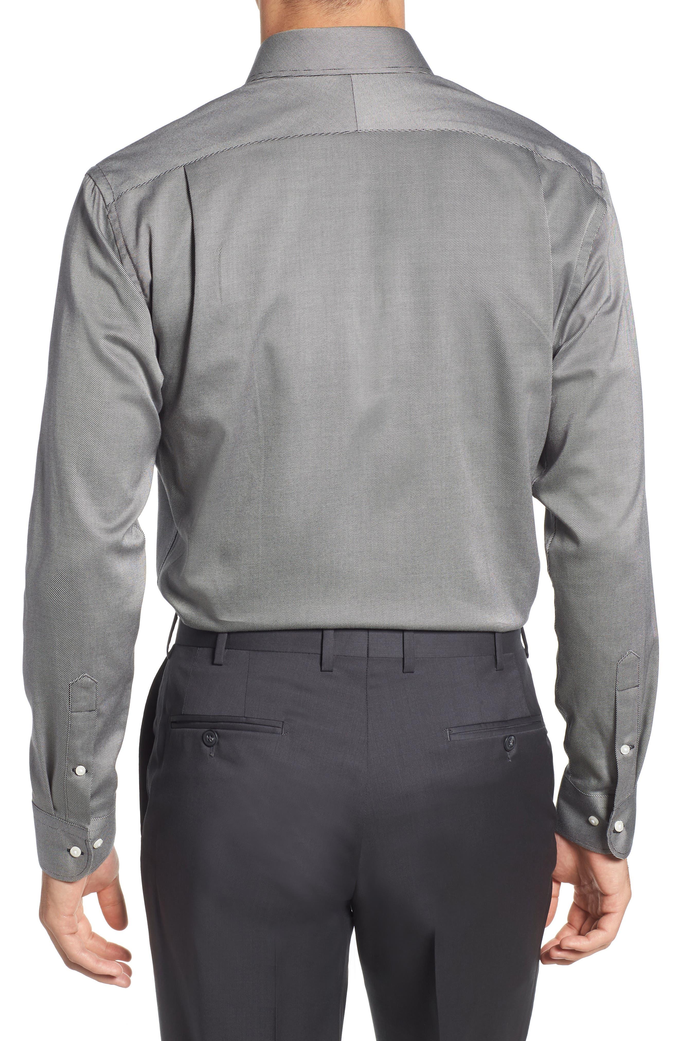 Trim Fit Twill Dress Shirt,                             Alternate thumbnail 3, color,                             001