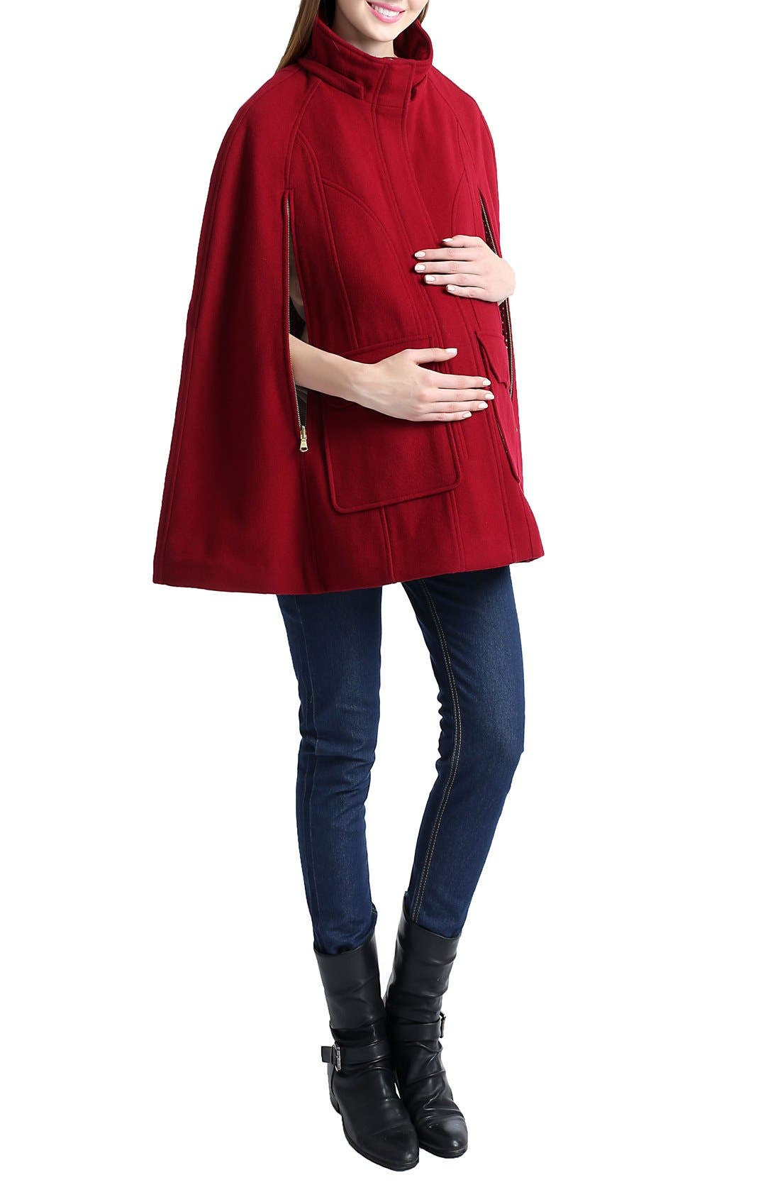 'Robin' Wool Blend Maternity Cape,                             Alternate thumbnail 3, color,                             WINE