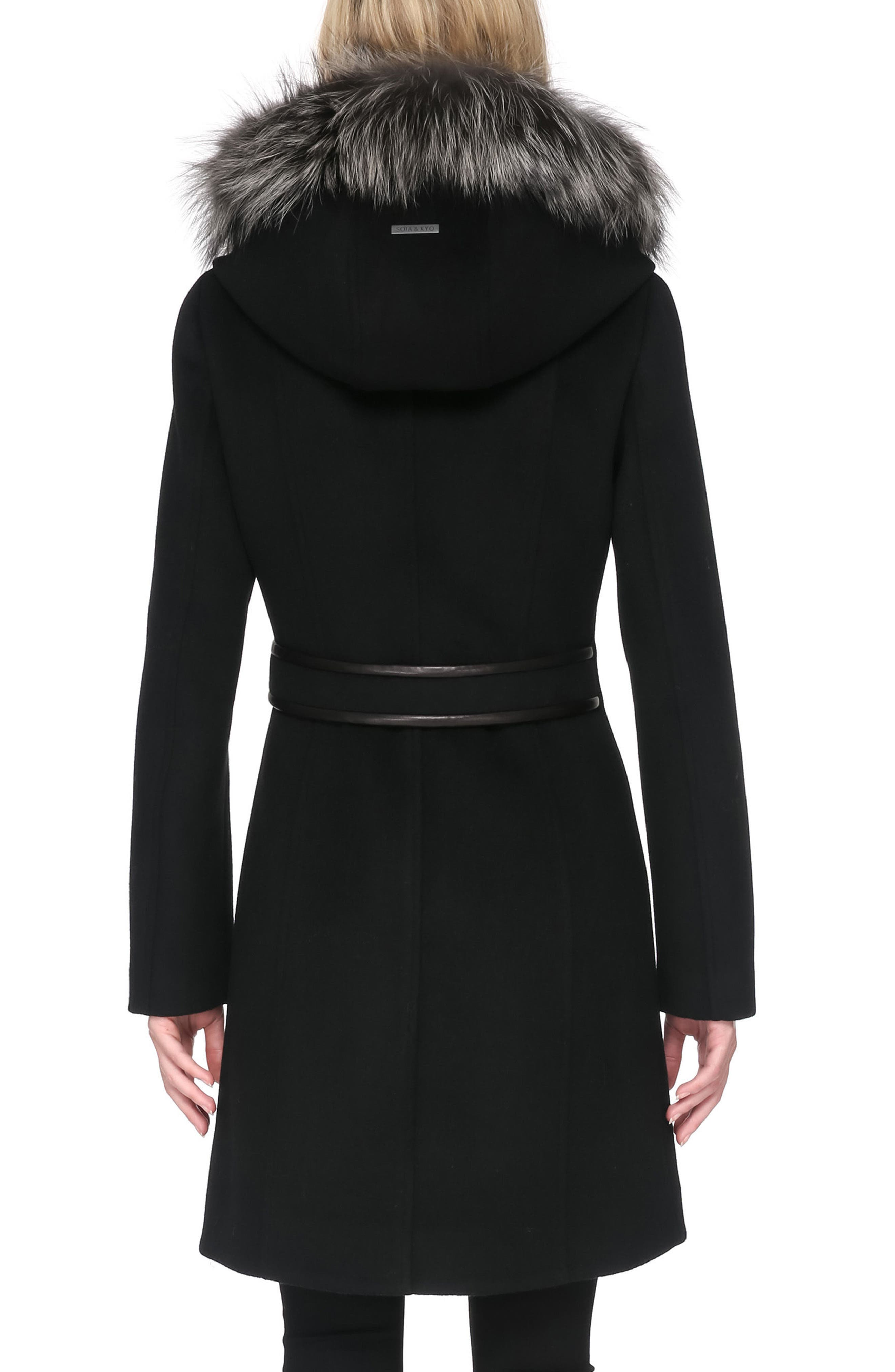 Hooded Wool Blend Coat with Detachable Genuine Fox Fur,                             Alternate thumbnail 2, color,                             001