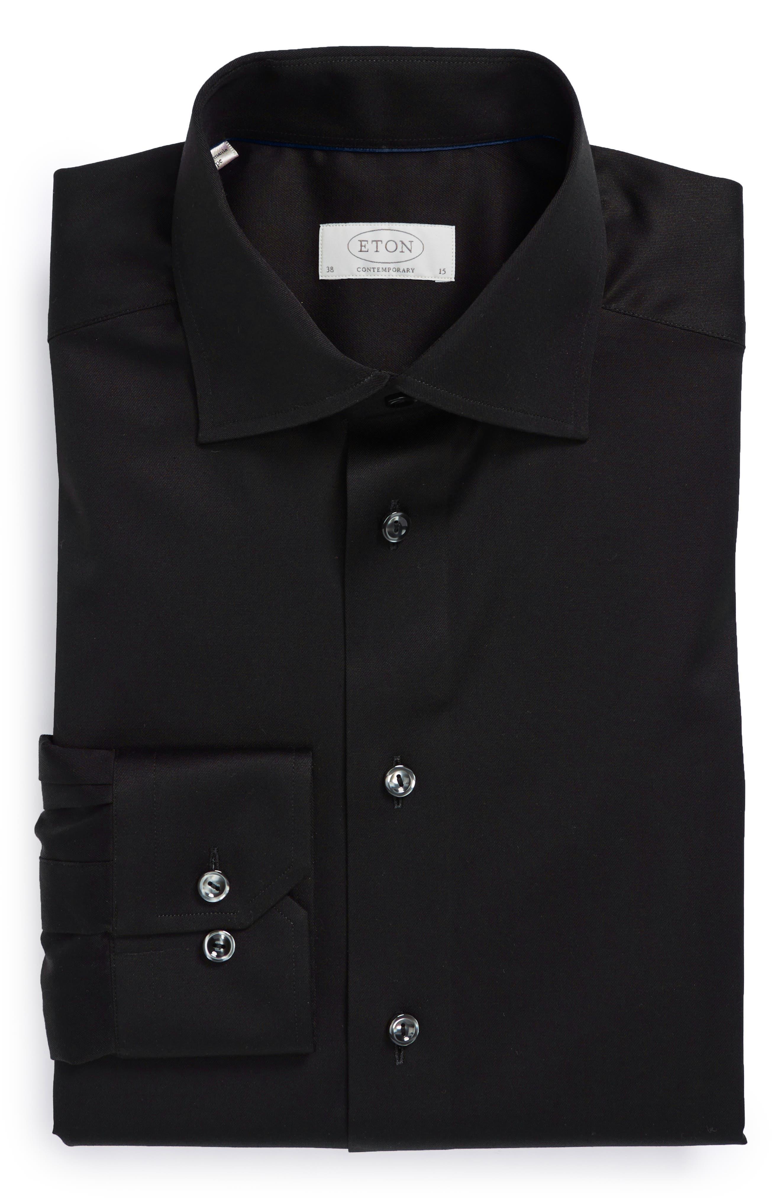 Contemporary Fit Twill Dress Shirt,                             Alternate thumbnail 2, color,                             BLACK
