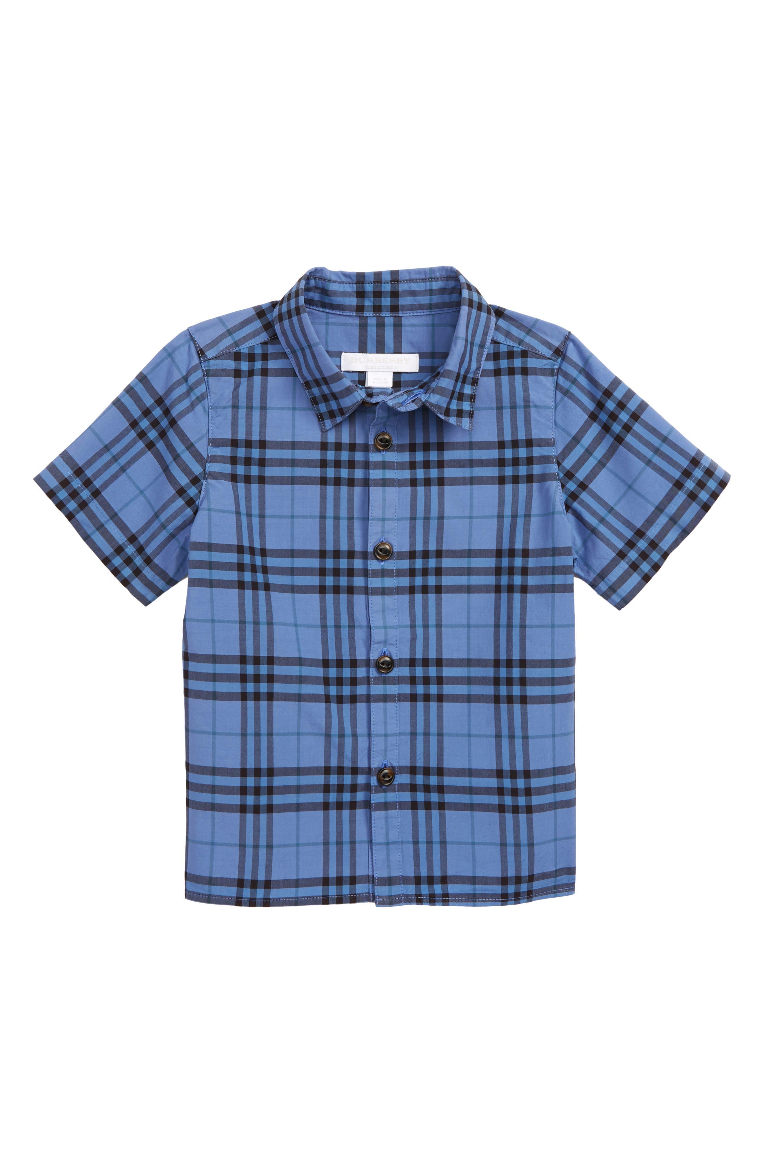 Sammi Dye Plaid Woven Shirt,                             Main thumbnail 1, color,                             DUSTY BLUE