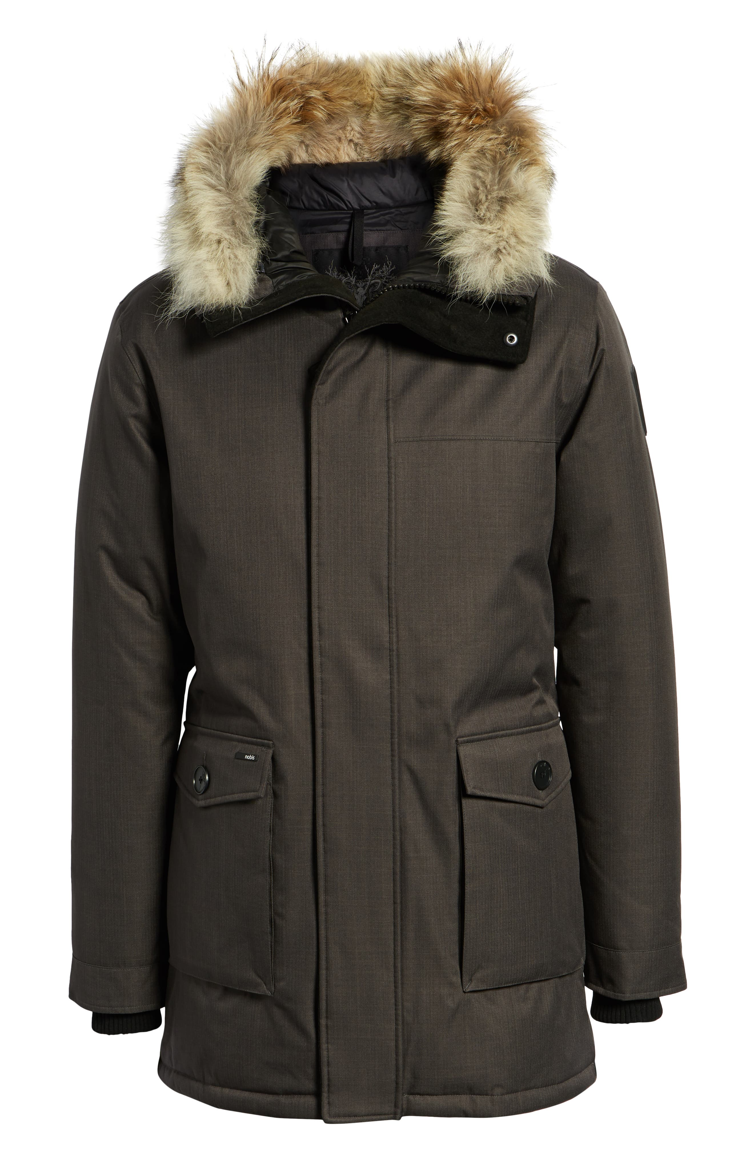Yves Windproof & Waterproof 650 Fill Power Down Parka with Genuine Coyote Fur Trim,                             Alternate thumbnail 7, color,                             STEEL GREY