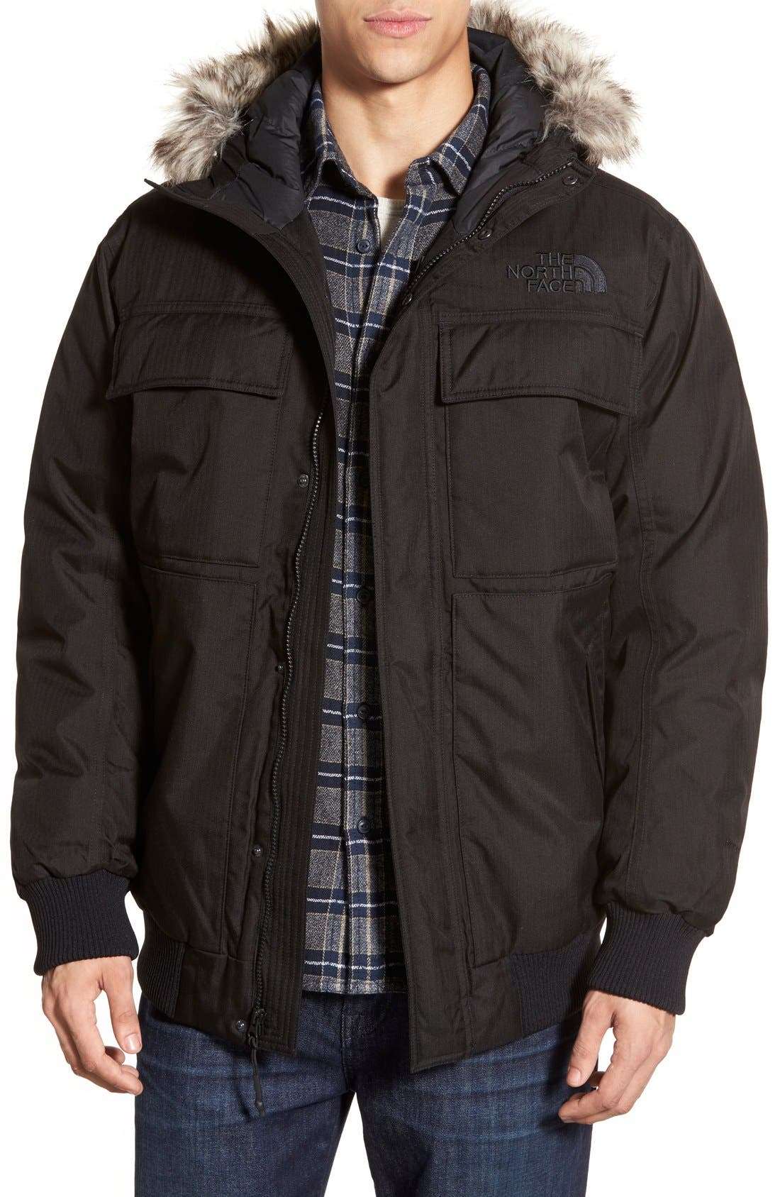 'Gotham II' Hooded Goose Down Jacket with Faux Fur Trim,                         Main,                         color, 001