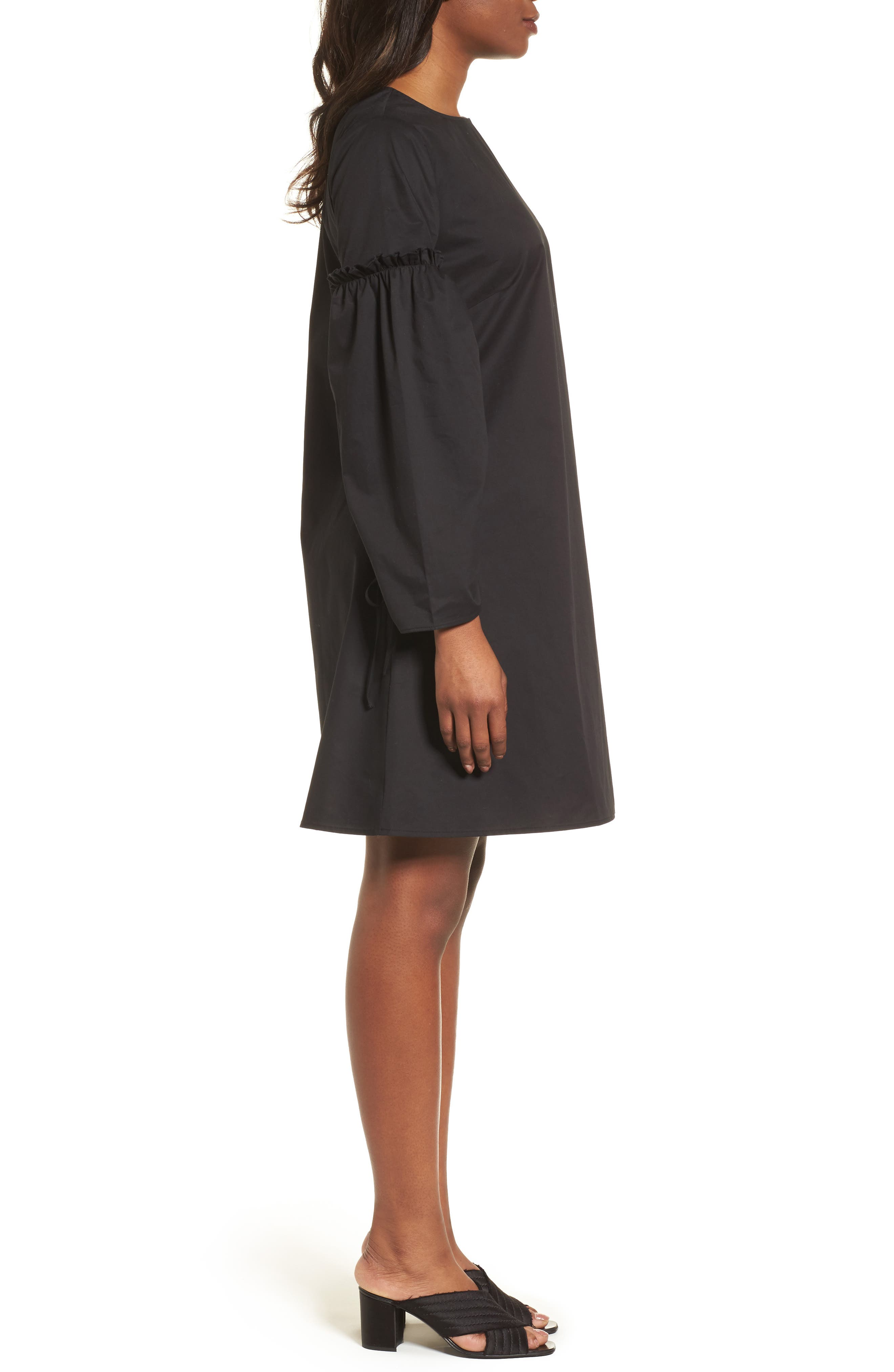 Parachute Sleeve Shift Dress,                             Alternate thumbnail 3, color,                             001