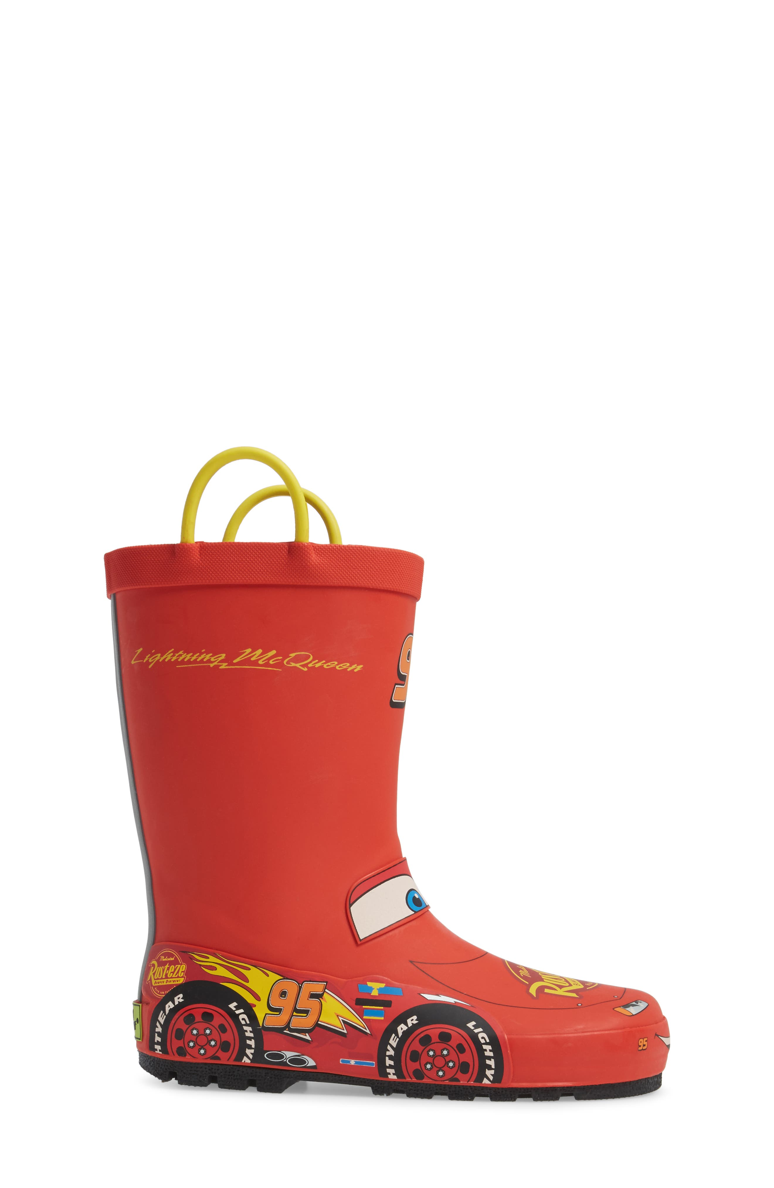 Lightning McQueen Waterproof Rain Boot,                             Alternate thumbnail 3, color,                             RED