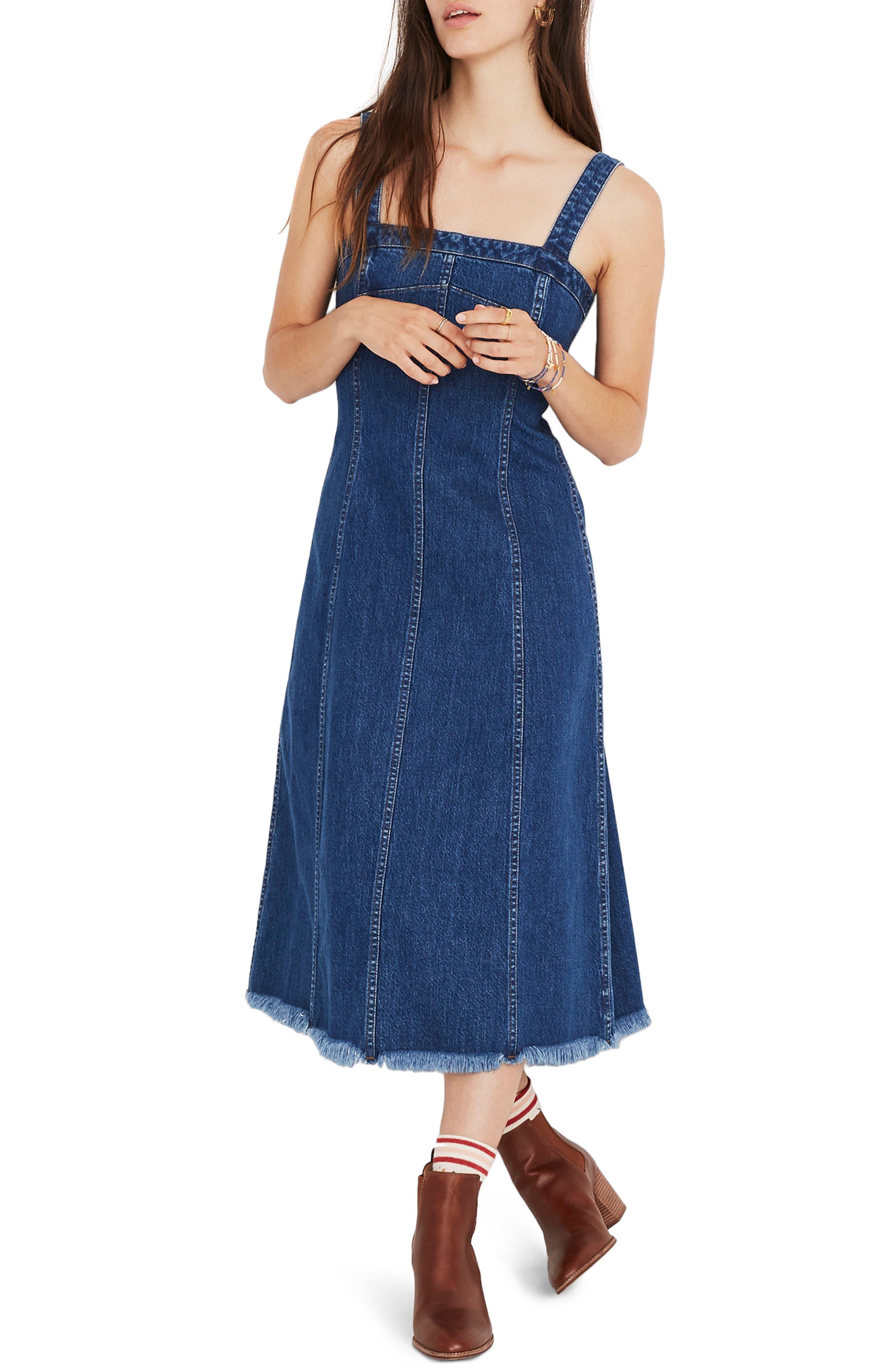 70s Dresses – Disco Dresses, Hippie Dresses, Wrap Dresses Womens Madewell Raw Hem Seamed Denim Dress $82.80 AT vintagedancer.com