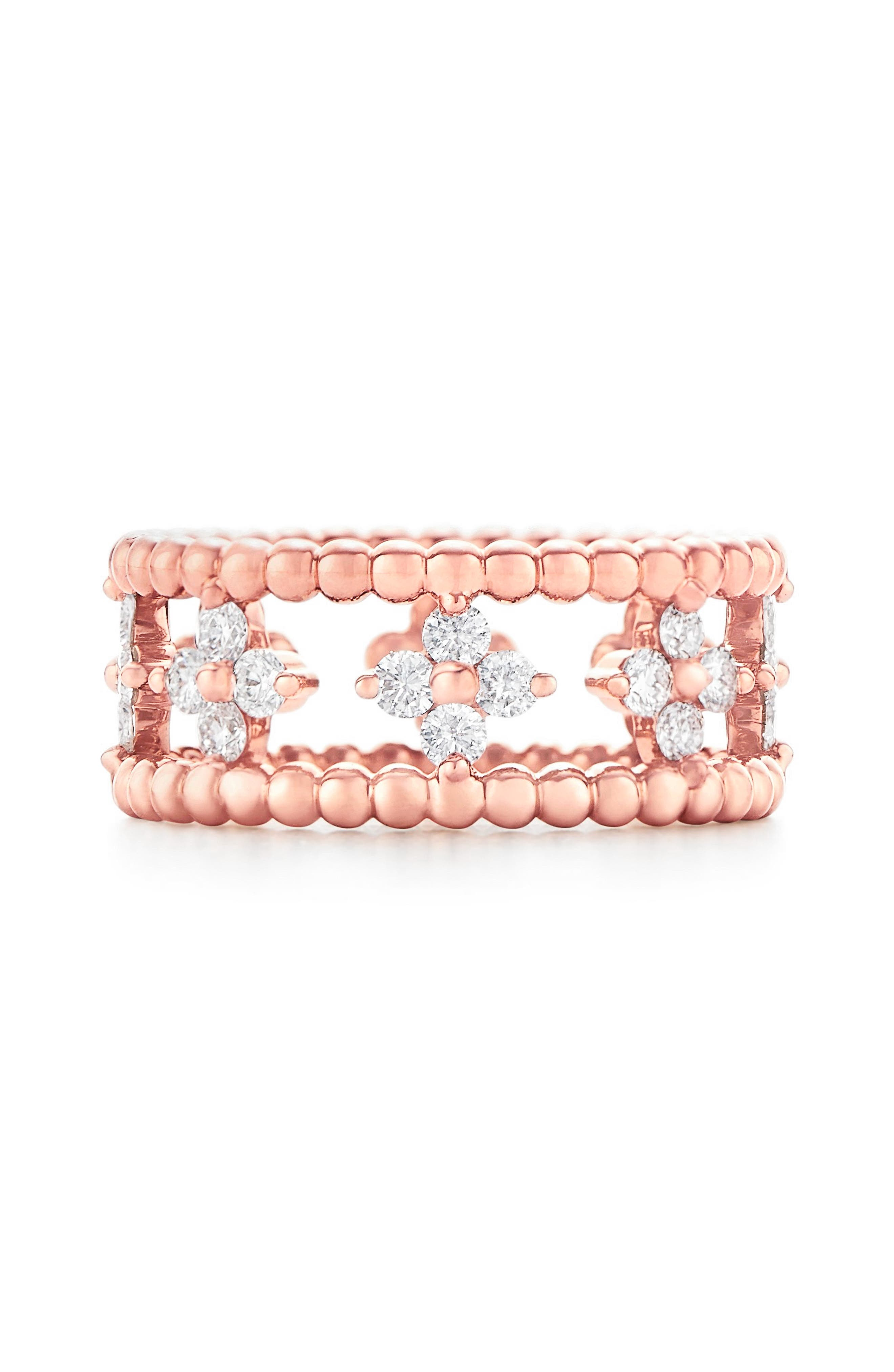 Beaded Diamond Ring,                         Main,                         color, ROSE GOLD