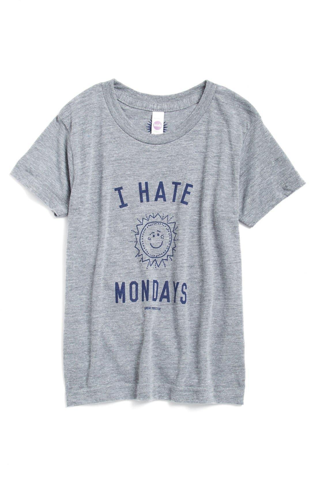 'I Hate Mondays' Graphic T-Shirt, Main, color, 020