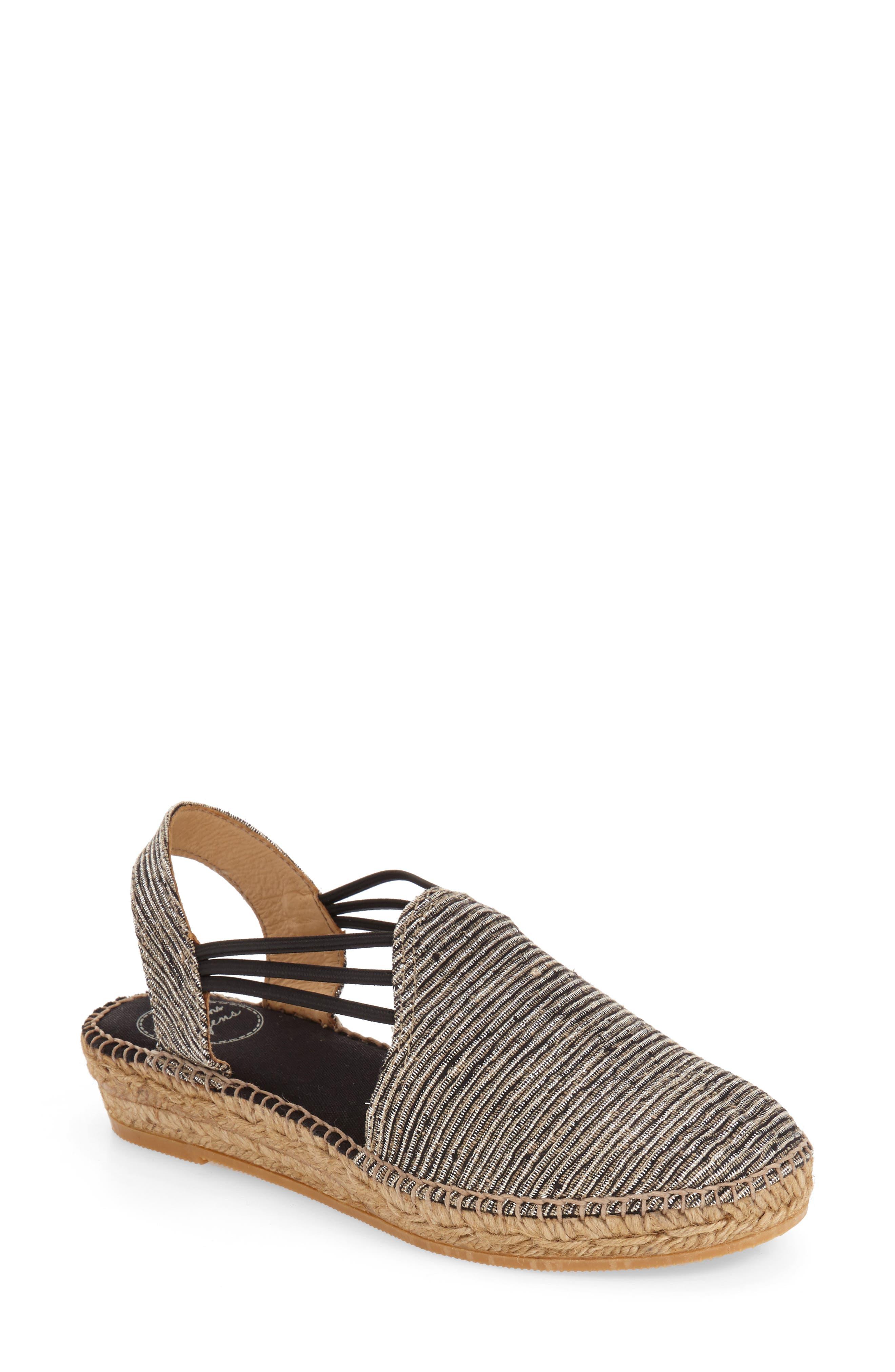 'Noa' Espadrille Sandal,                         Main,                         color, BLACK FABRIC