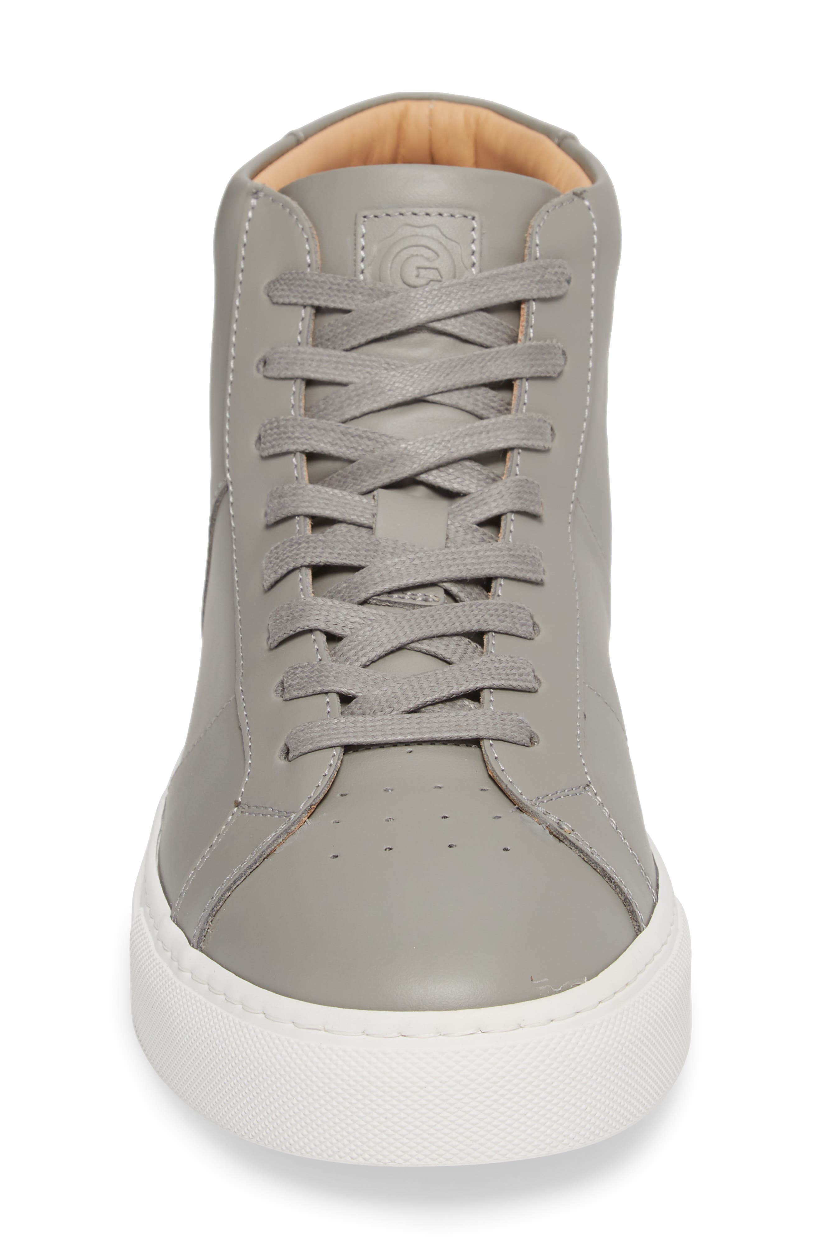 Royale High Top Sneaker,                             Alternate thumbnail 4, color,                             GREY LEATHER
