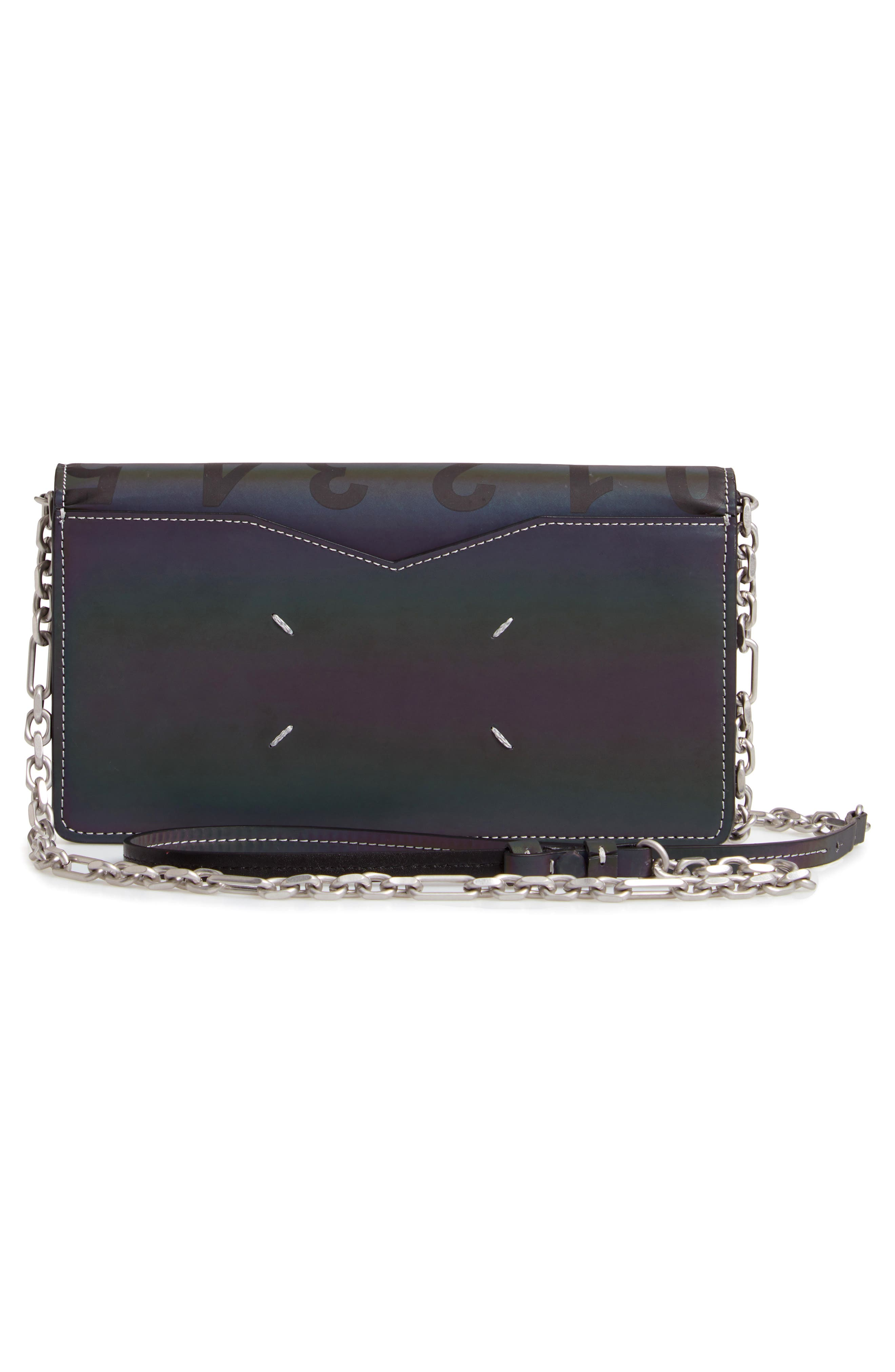 Reflective Wallet on a Chain,                             Alternate thumbnail 3, color,                             BLACK