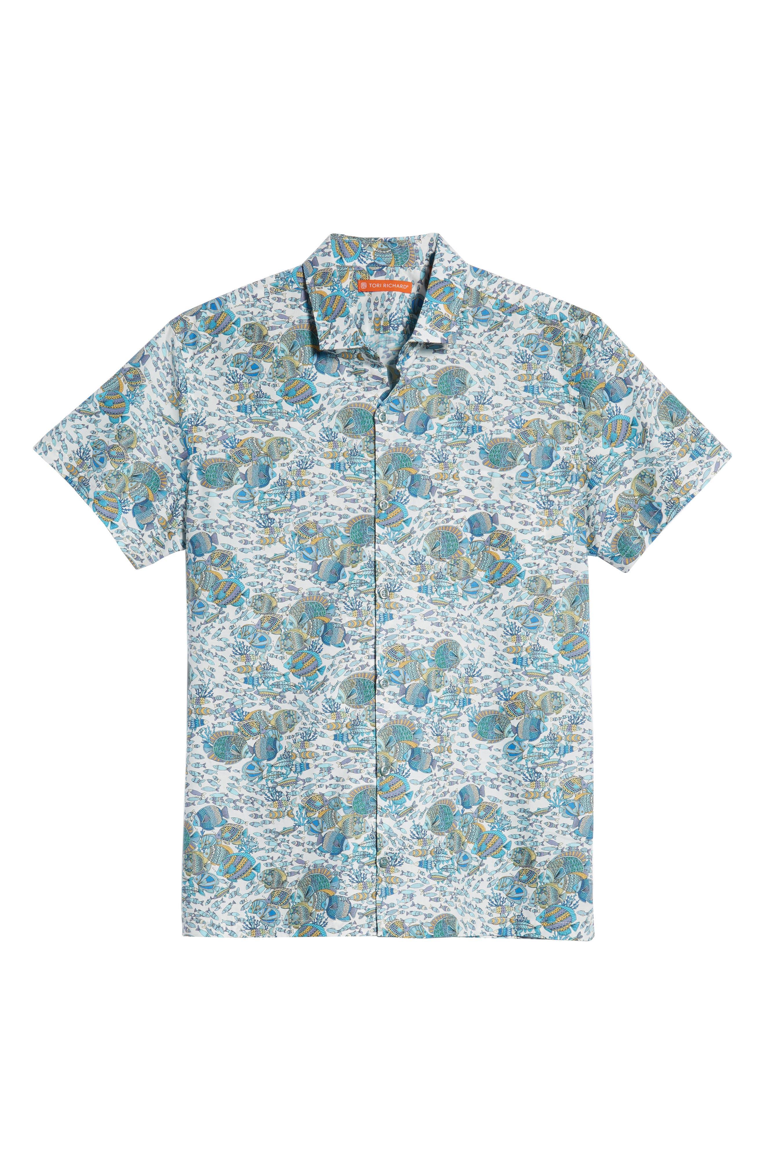 Crowdsource Trim Fit Camp Shirt,                             Alternate thumbnail 5, color,                             100