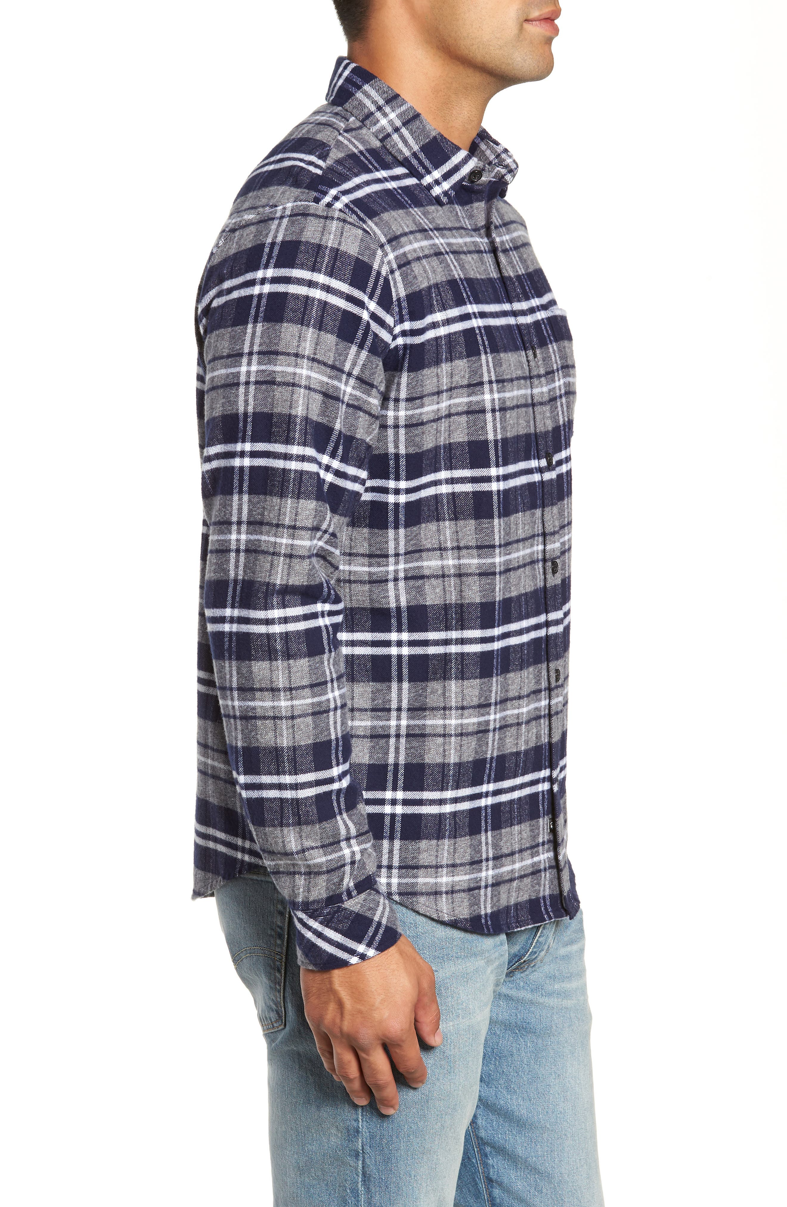 Forrest Slim Fit Plaid Flannel Sport Shirt,                             Alternate thumbnail 4, color,                             NAVY/LIGHT GREY/WHITE