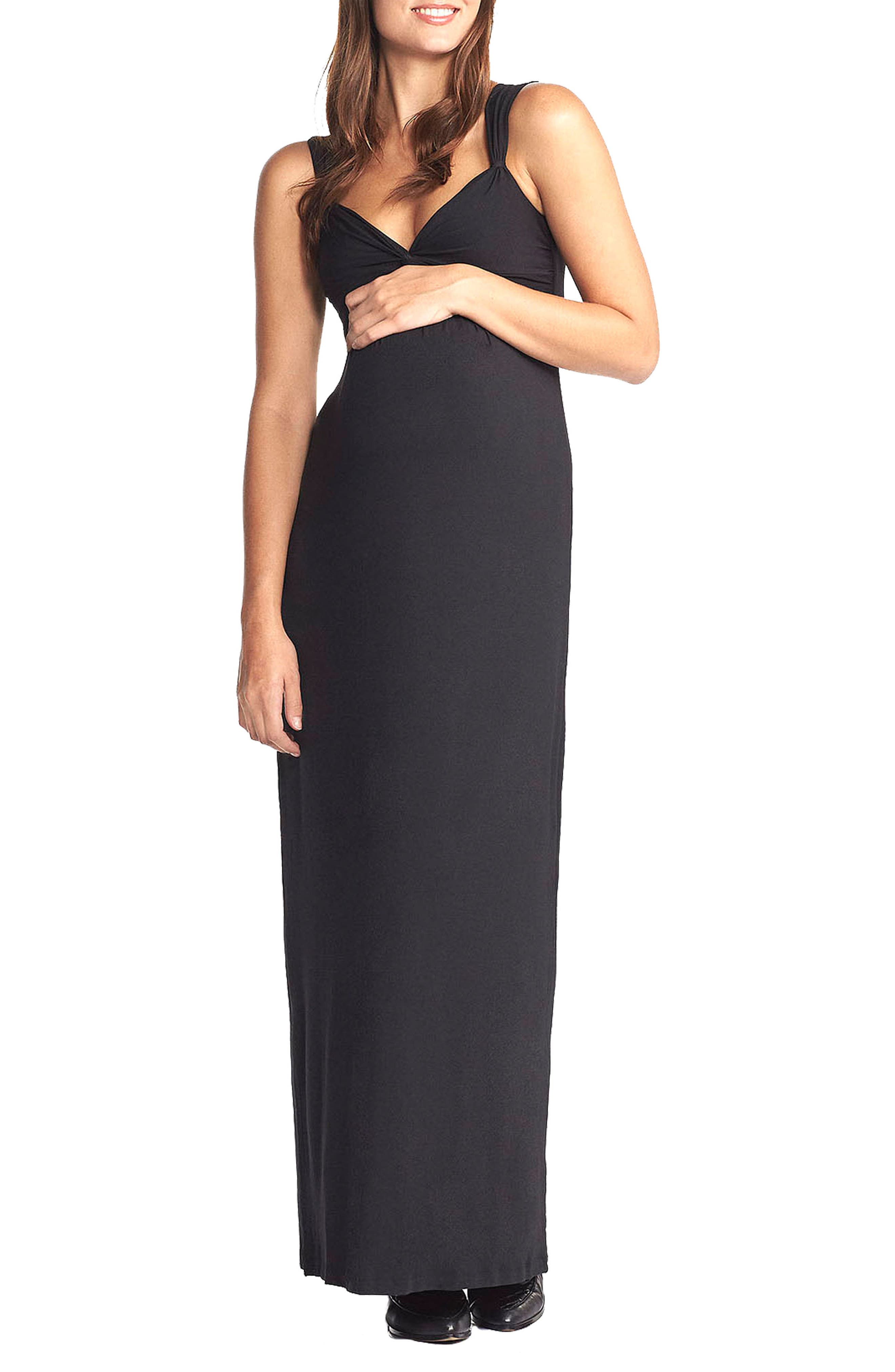 'Callie' Jersey Maxi Maternity Dress,                             Main thumbnail 1, color,                             BLACK