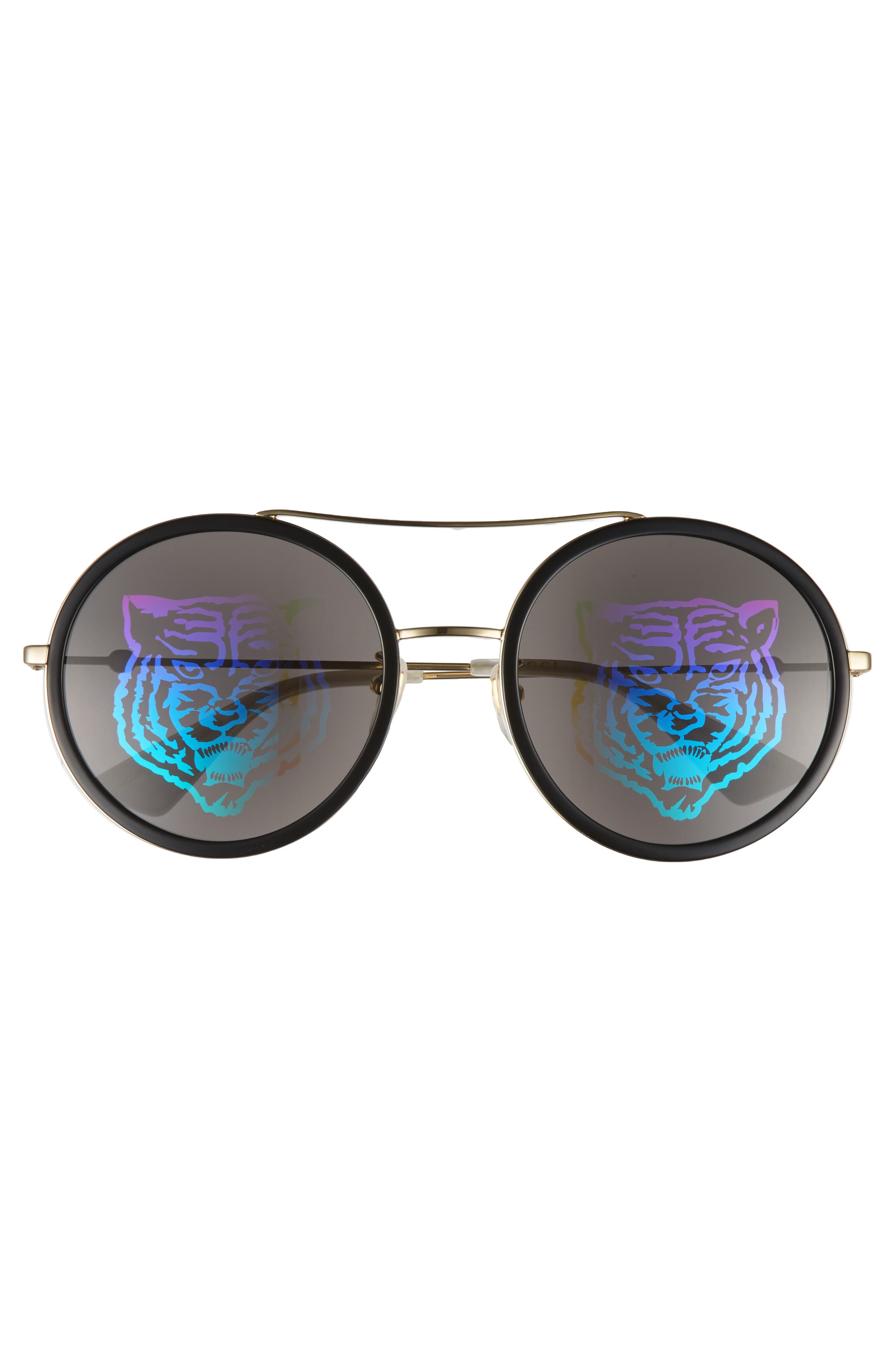 56mm Round Mirrored Aviator Sunglasses,                             Alternate thumbnail 3, color,                             GOLD/ TIGER