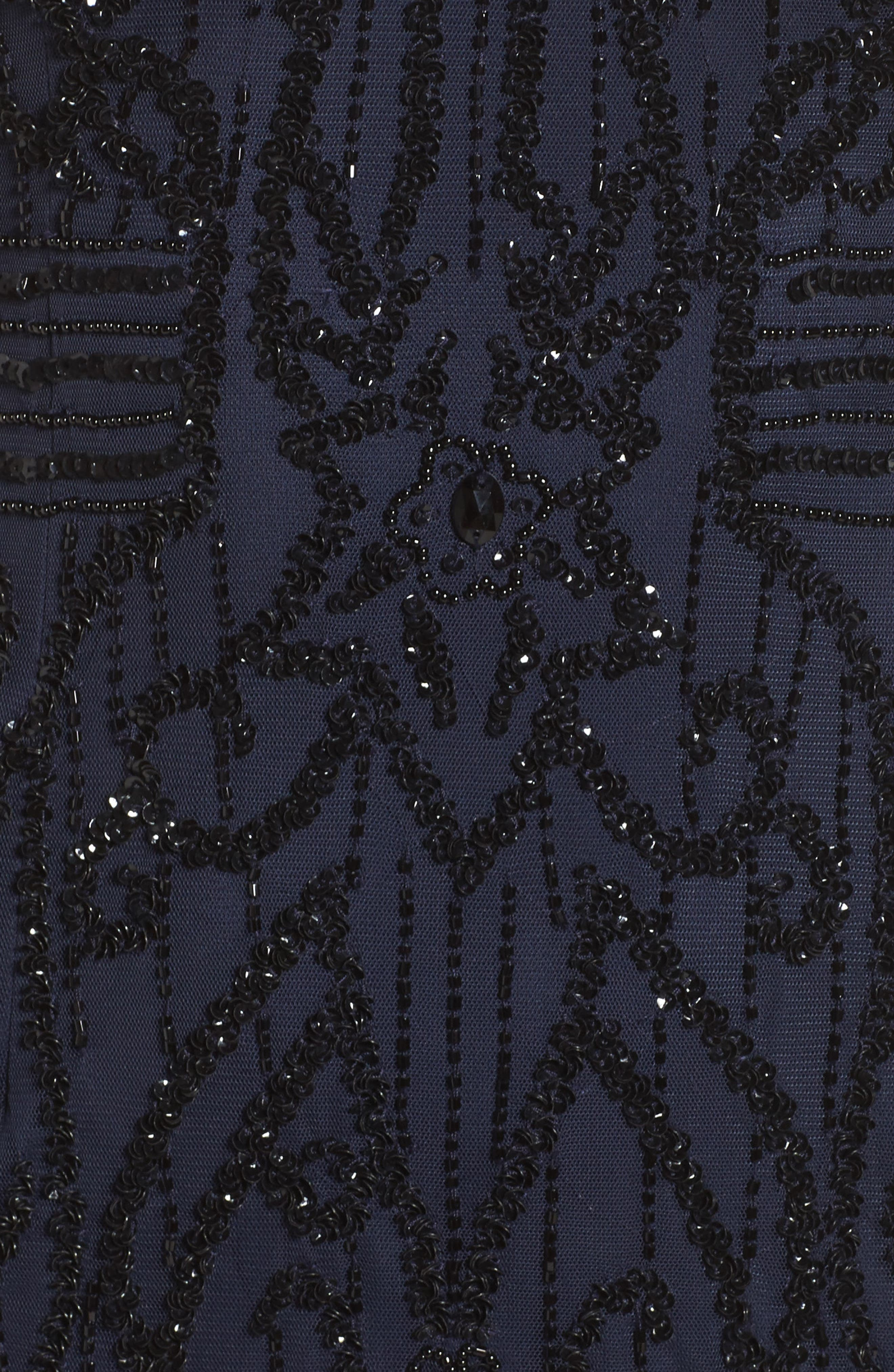 Beaded Mesh Godet Gown,                             Alternate thumbnail 5, color,                             410