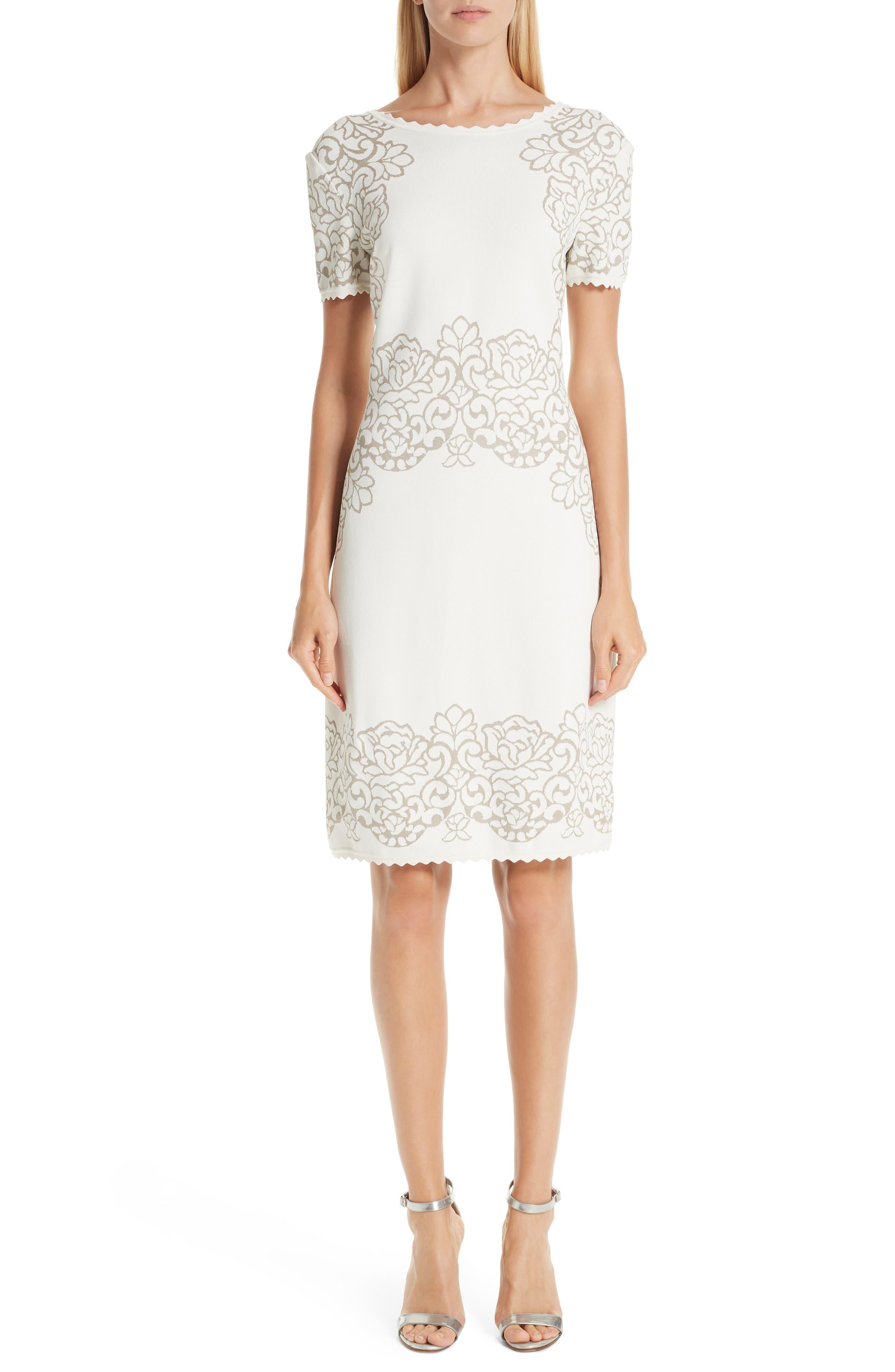 St. John Collection Laurel Jacquard Sweater Dress, Beige