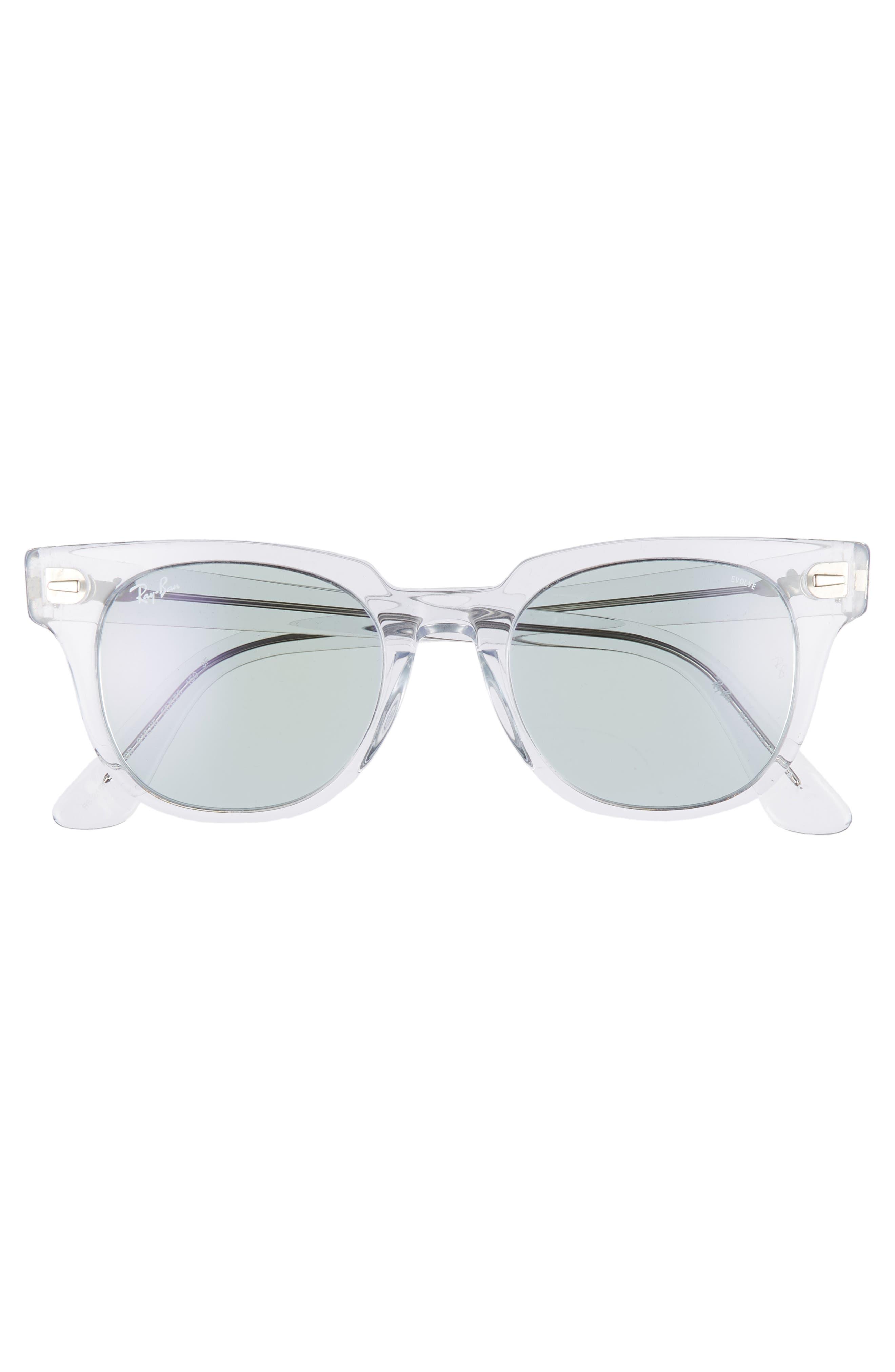 Meteor 50mm Polarized Wayfarer Sunglasses,                             Alternate thumbnail 3, color,                             CRYSTAL/ BLUE SOLID