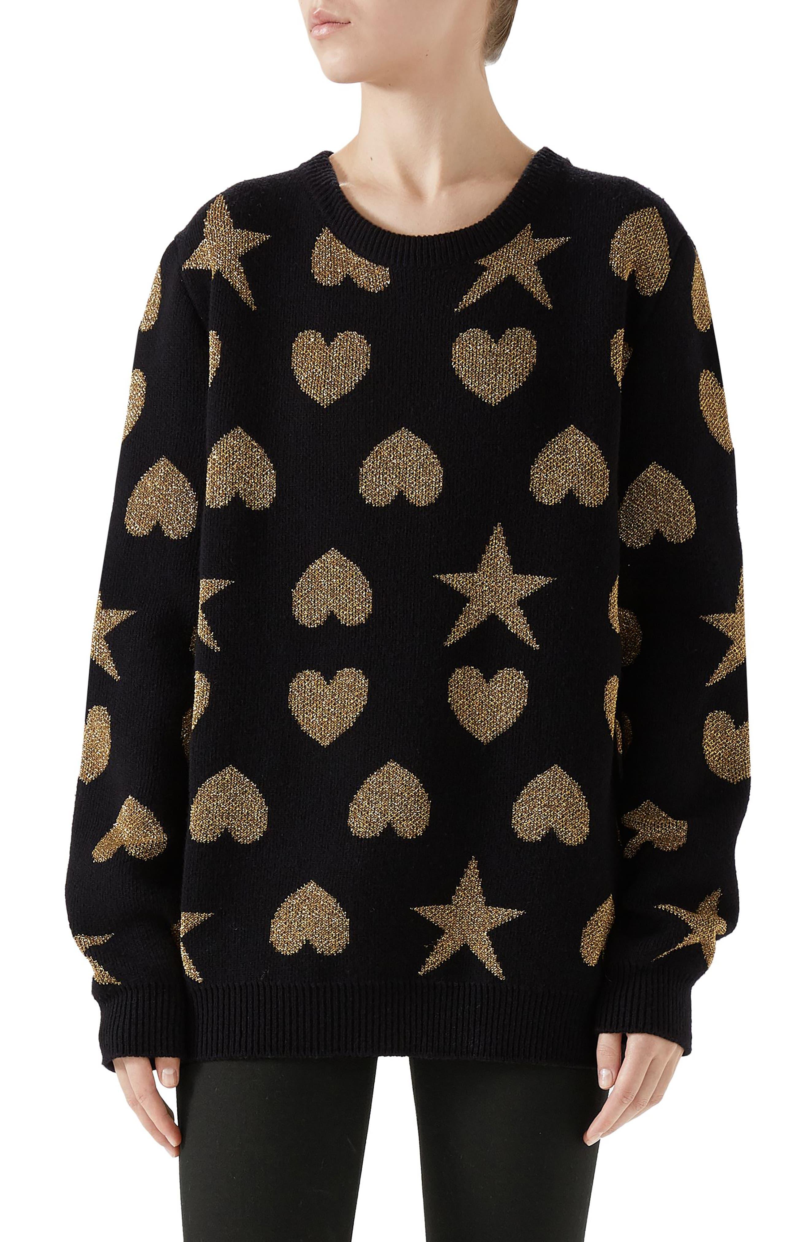 Metallic Logo Wool Blend Sweater,                             Main thumbnail 1, color,                             BLACK/ GOLD