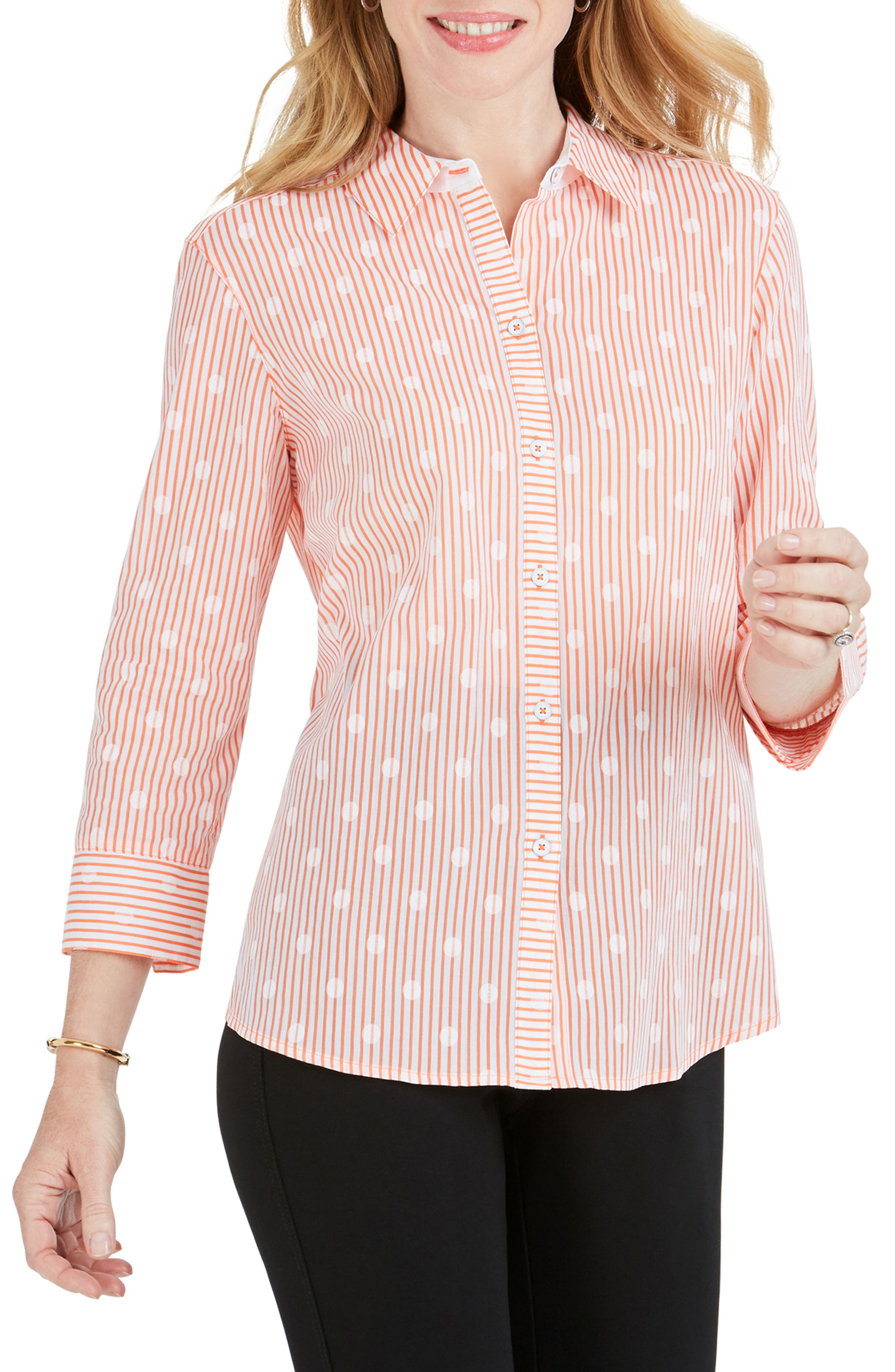 FOXCROFT Ava Dot Over Stripe Print Shirt, Main, color, CLOUD CORAL