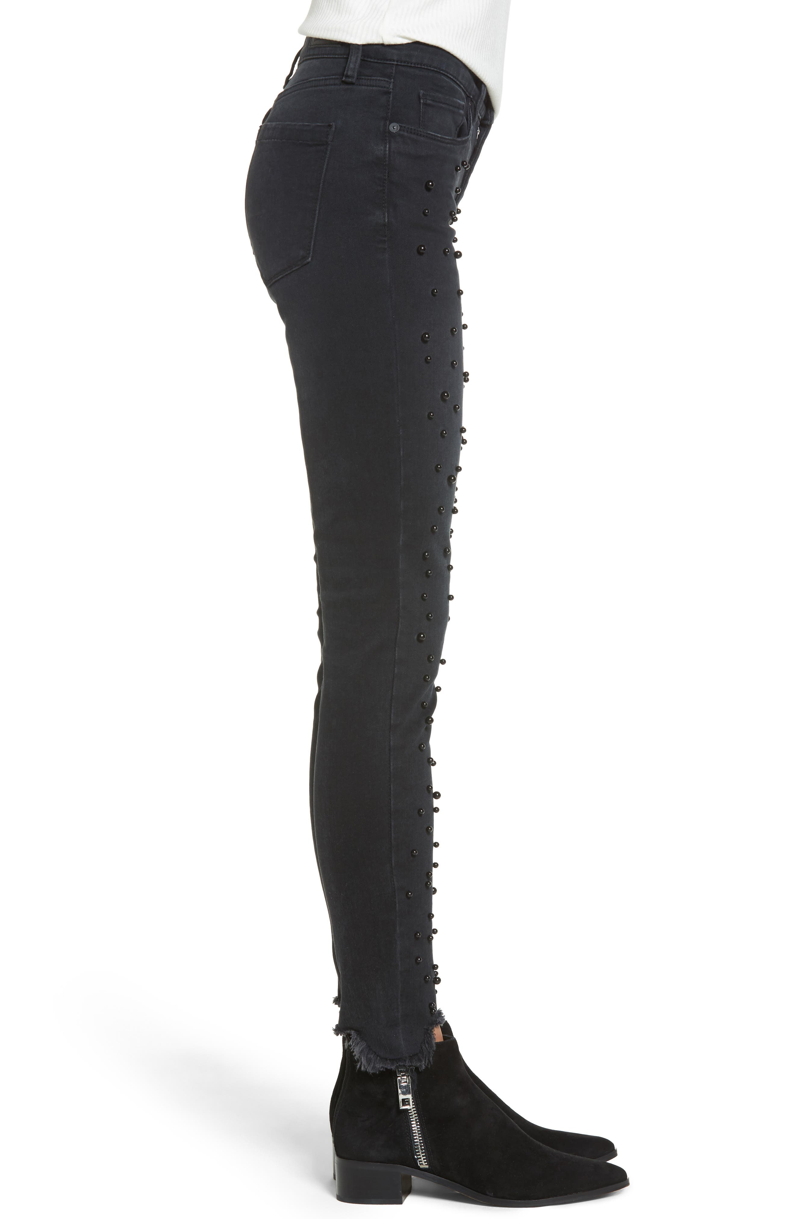 Faux Pearl Embellished Skinny Jeans,                             Alternate thumbnail 3, color,                             001