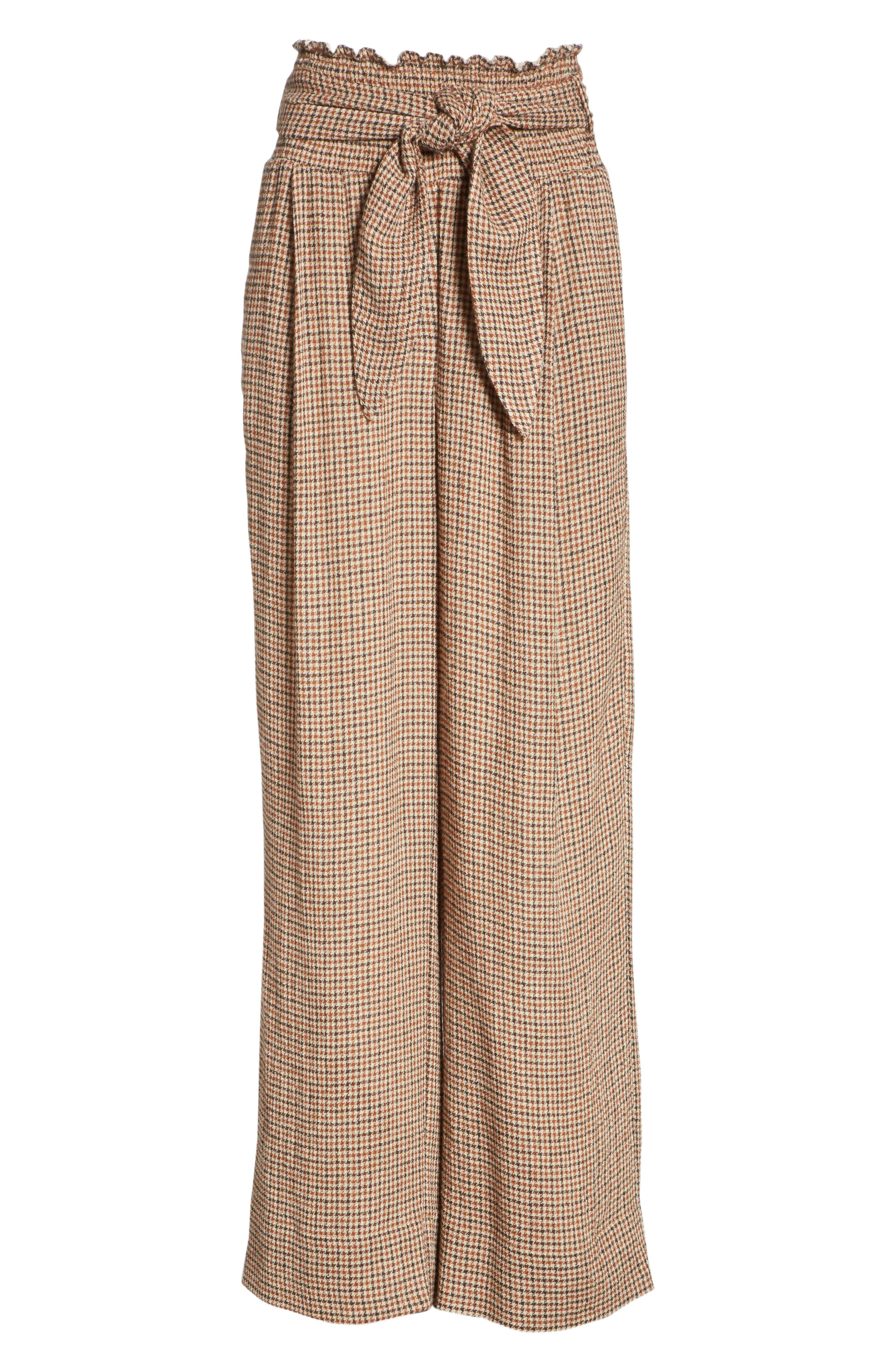 Private Houndstooth Tie Waist Pants,                             Alternate thumbnail 6, color,                             CHECK