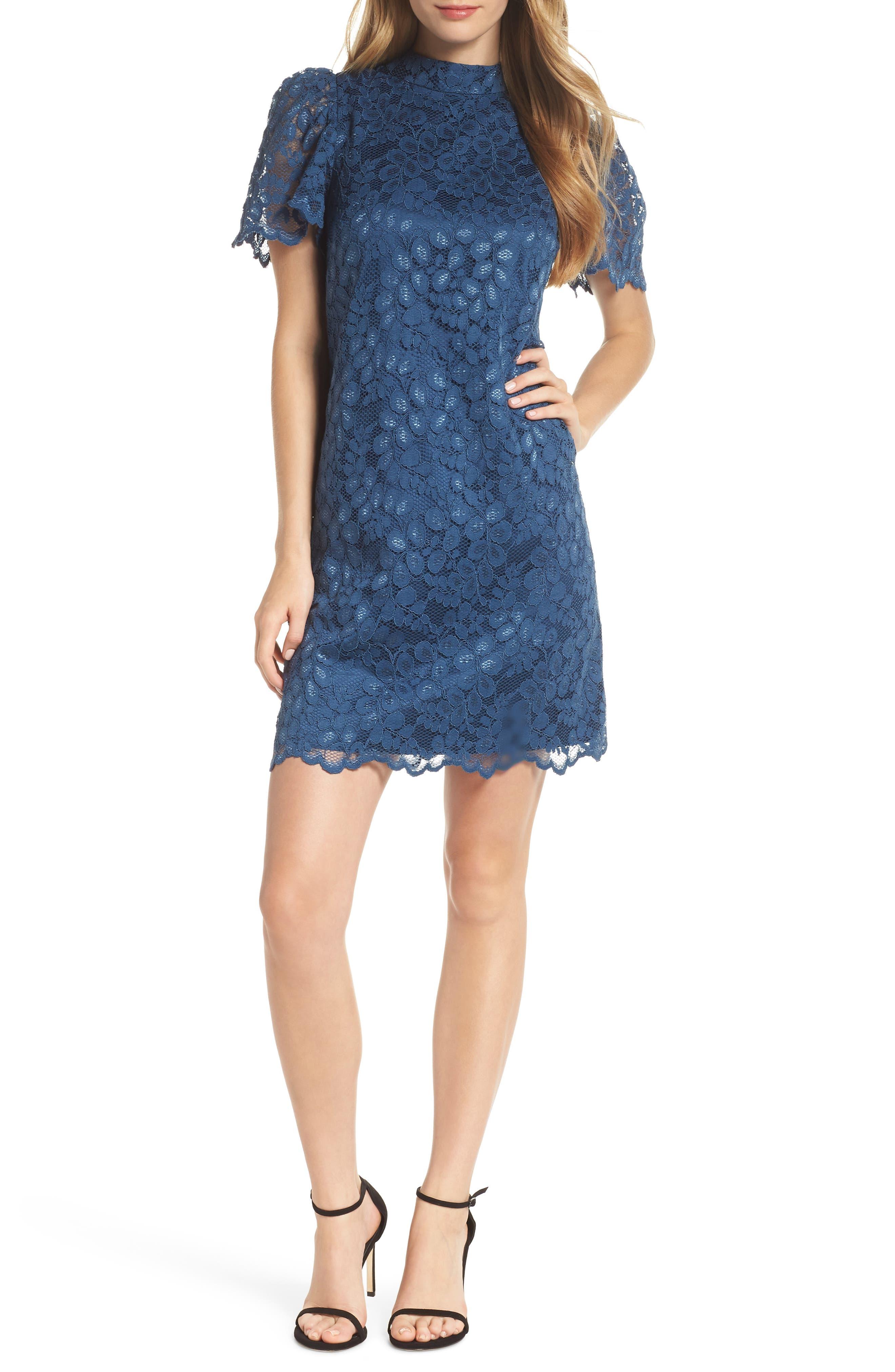Eliza J Lace A-Line Dress, Blue