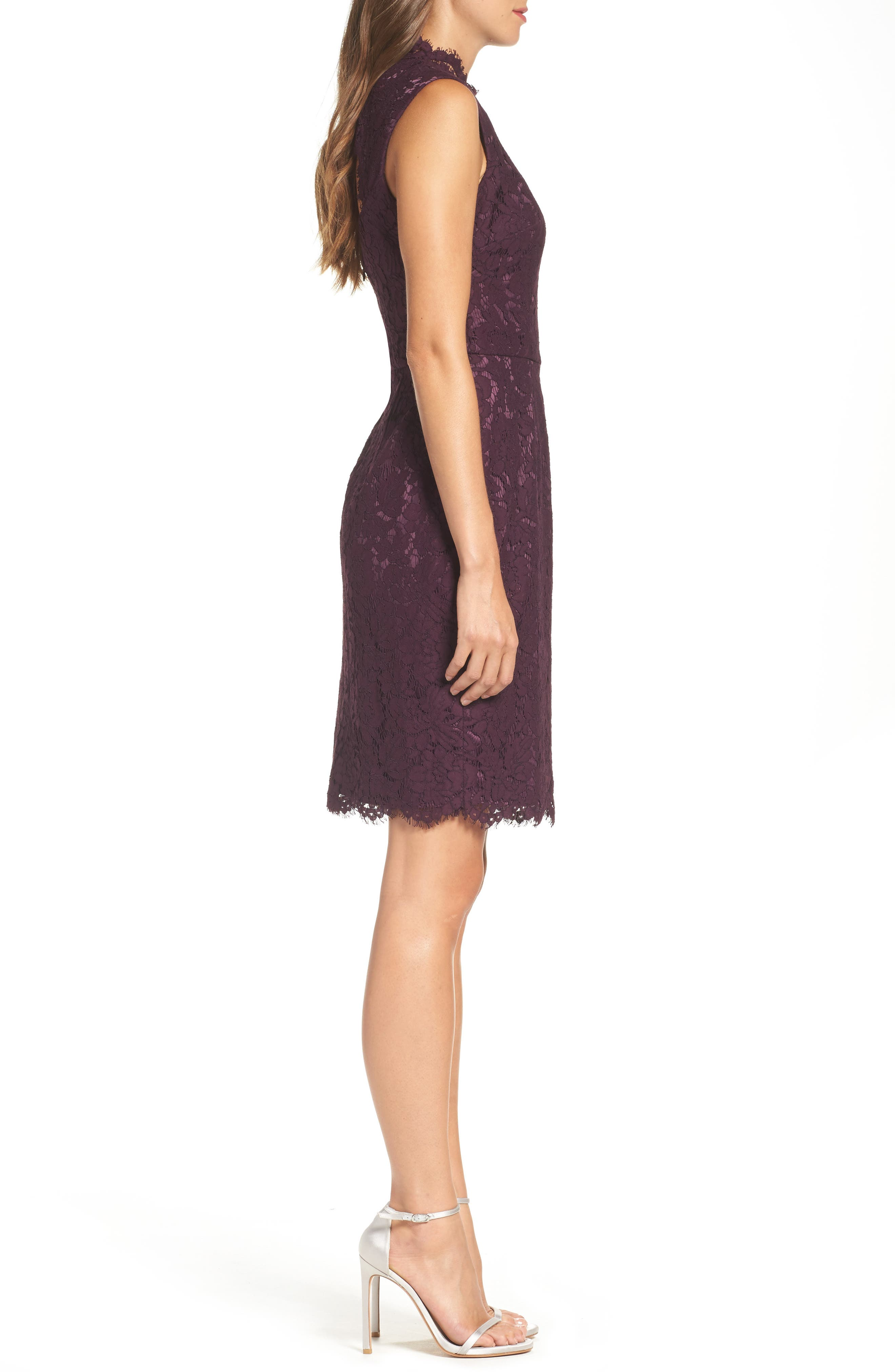 Open Back Lace Sheath Dress,                             Alternate thumbnail 3, color,                             506