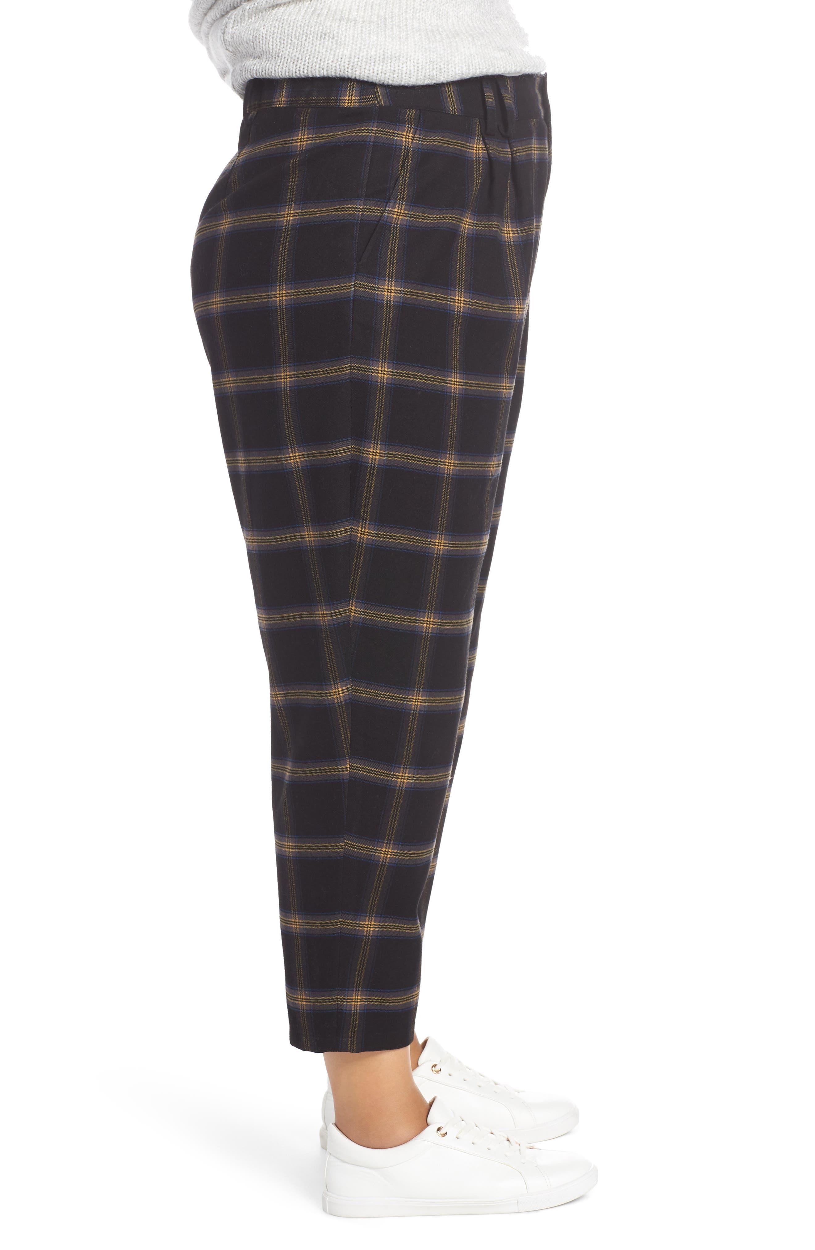 Plaid Menswear Crop Pants,                             Alternate thumbnail 3, color,                             BLACK SHANNON PLAID