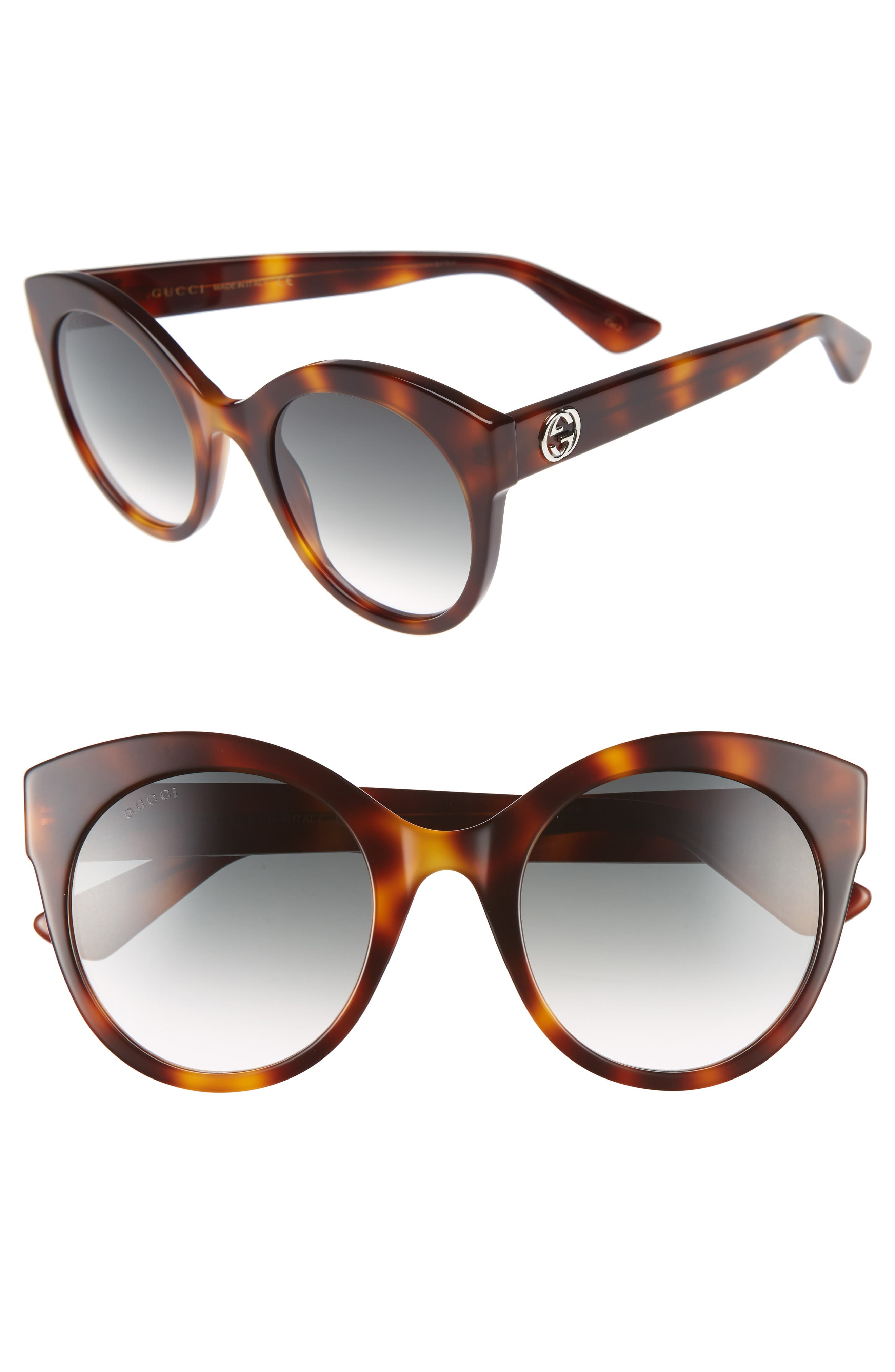52mm Cat Eye Sunglasses,                             Main thumbnail 1, color,                             HAVANA/ GREEN