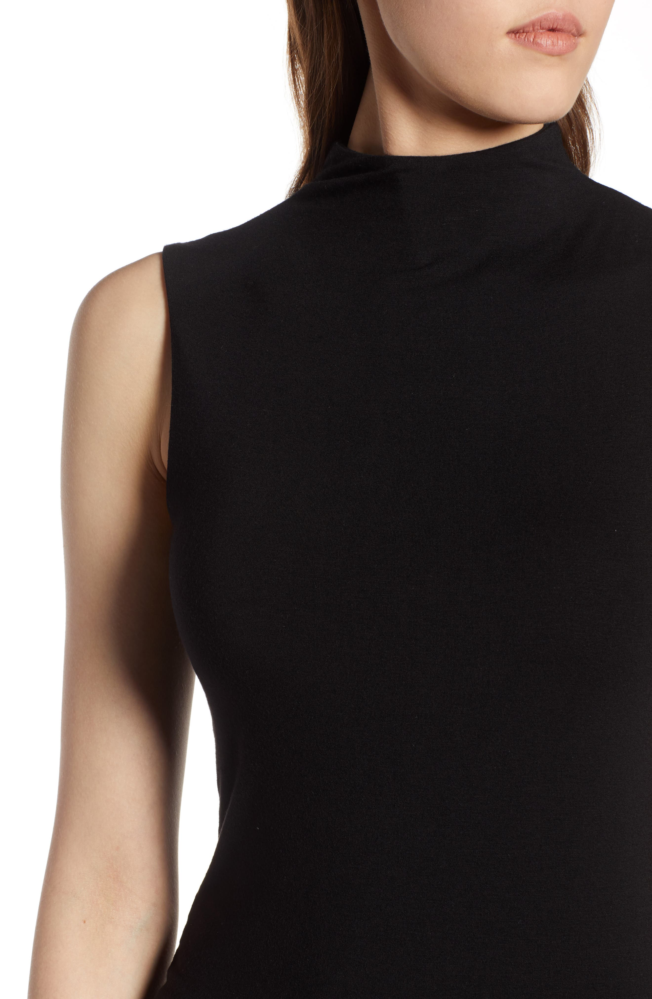 Jersey Funnel Neck Top,                             Alternate thumbnail 4, color,                             BLACK
