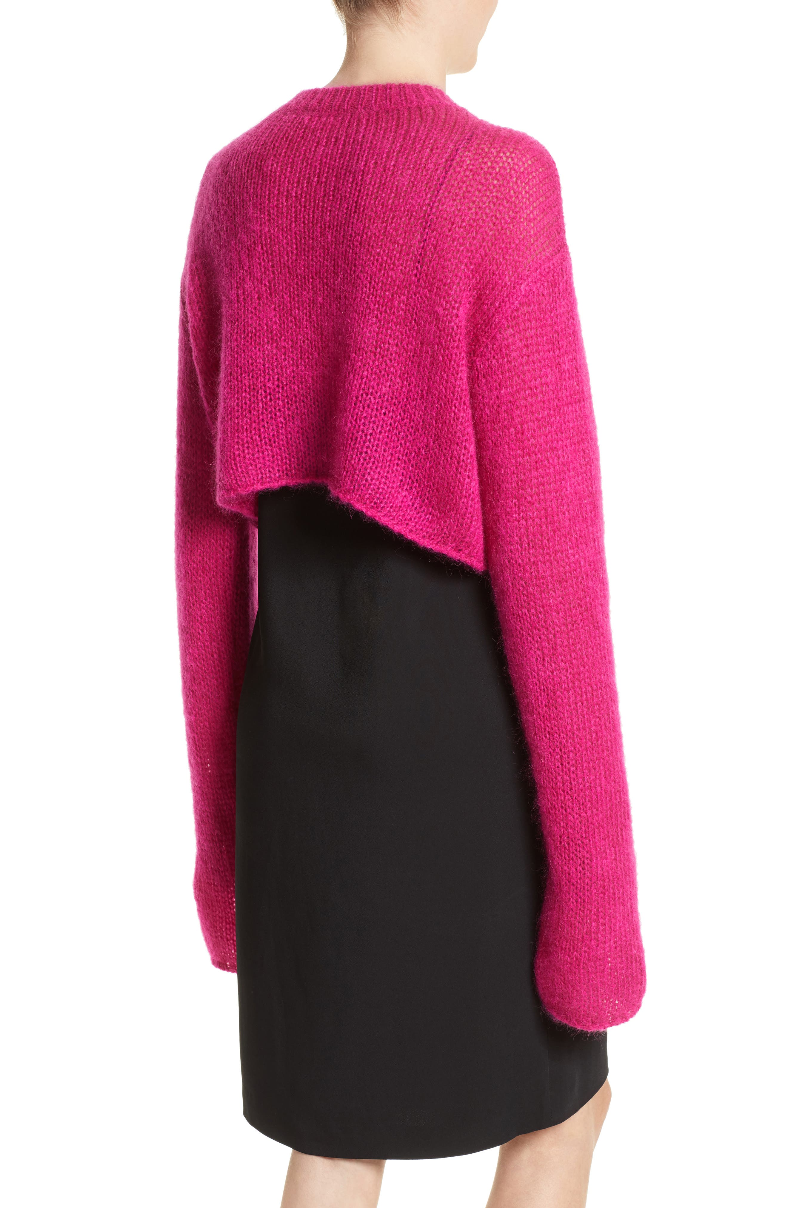 McQ by Alexander McQueen Mohair Blend Crop Sweater,                             Alternate thumbnail 2, color,
