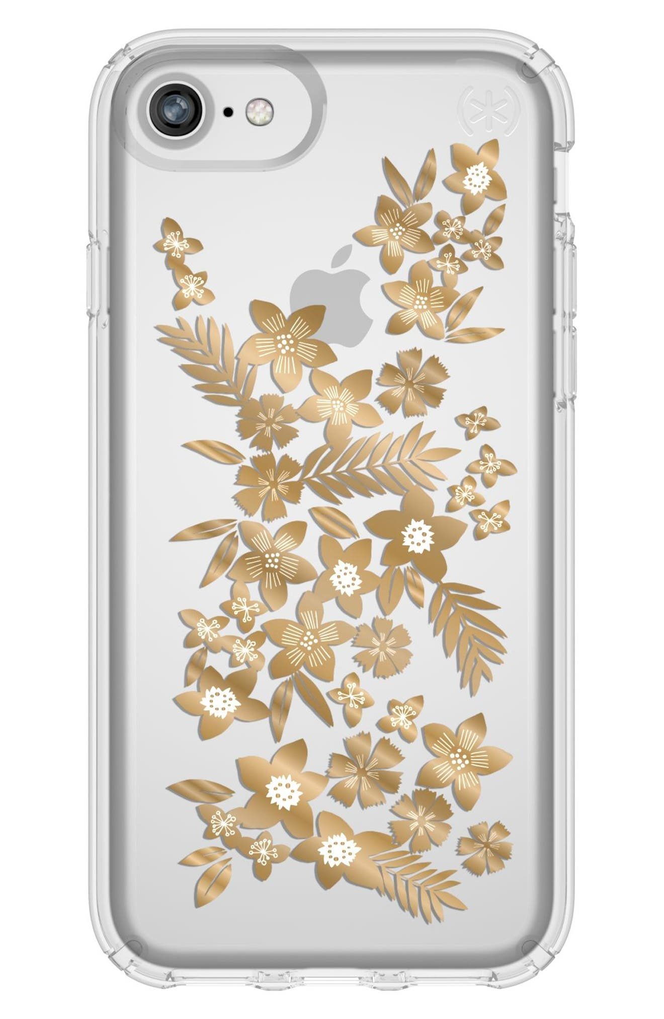 Transparent Shimmer Floral Metallic iPhone 6/6s/7/8 Case,                         Main,                         color, 040