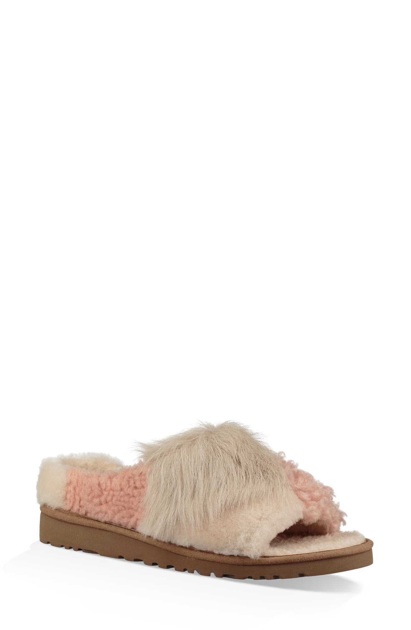 Patchwork Fluff Slipper,                             Main thumbnail 1, color,                             CHESTNUT