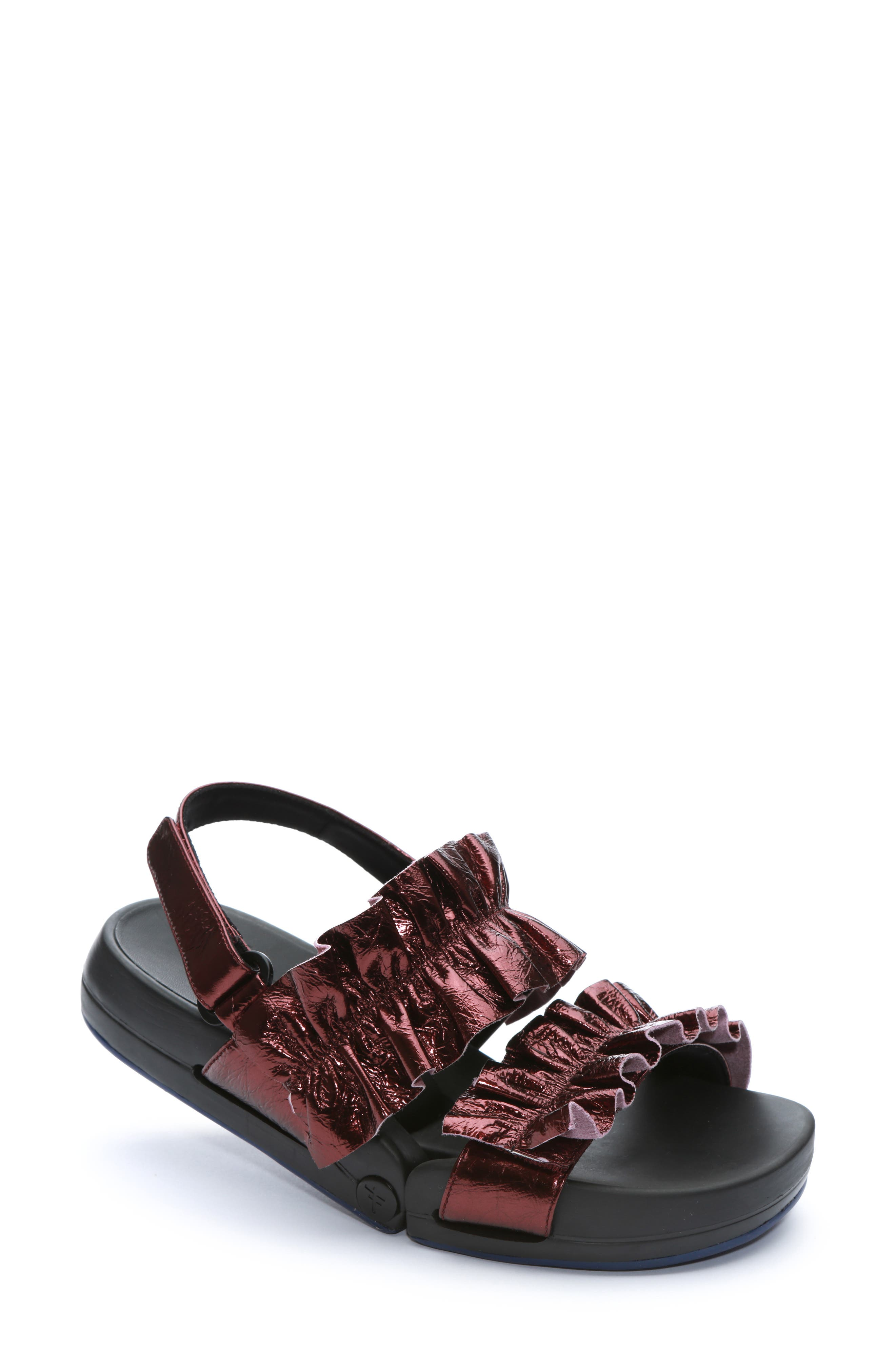 Figulous Ruffle Sandal,                         Main,                         color, BORDEAUX METALLIC LEATHER