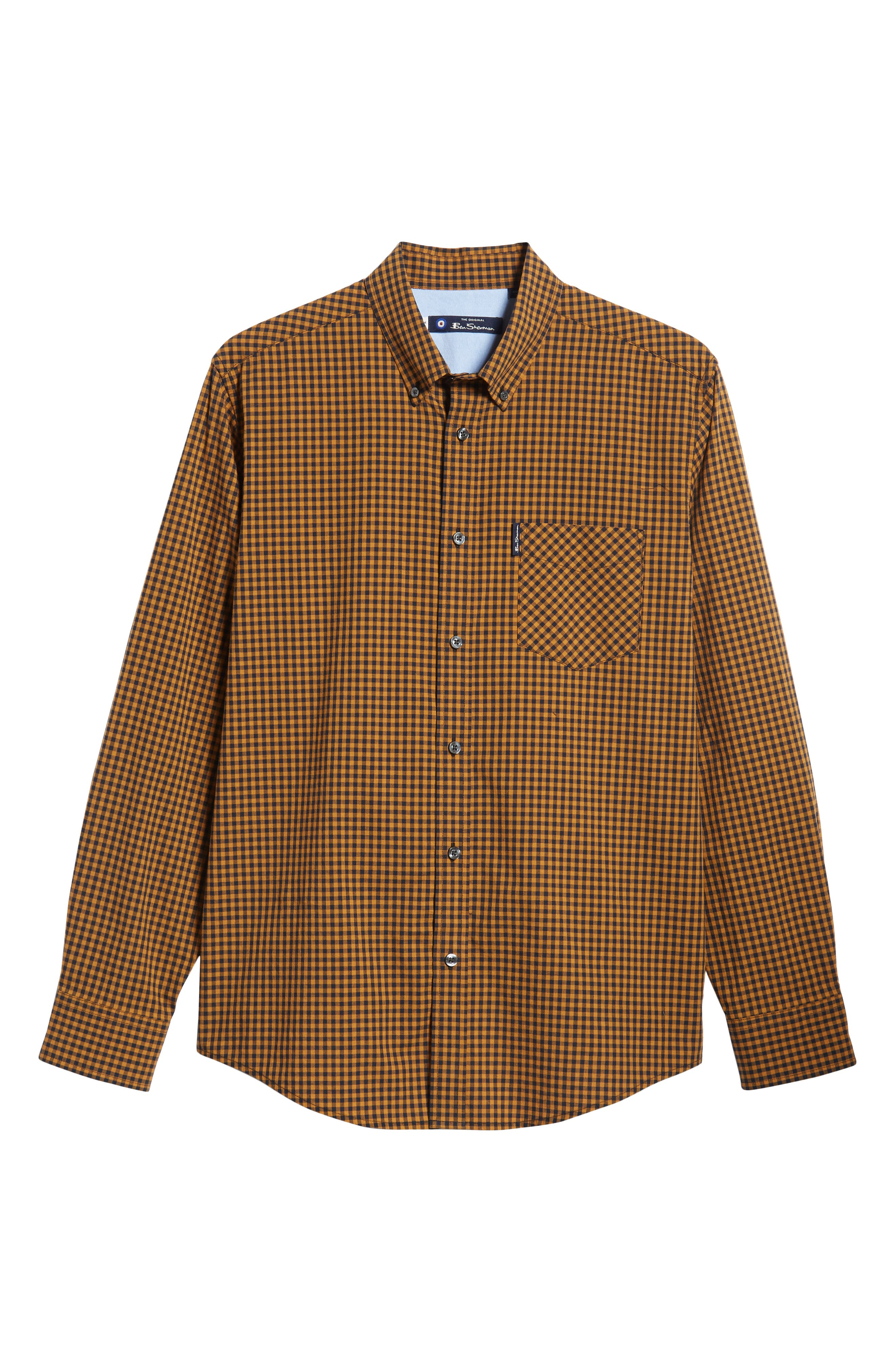 Classic Fit Gingham Sport Shirt,                             Alternate thumbnail 5, color,                             MUSTARD