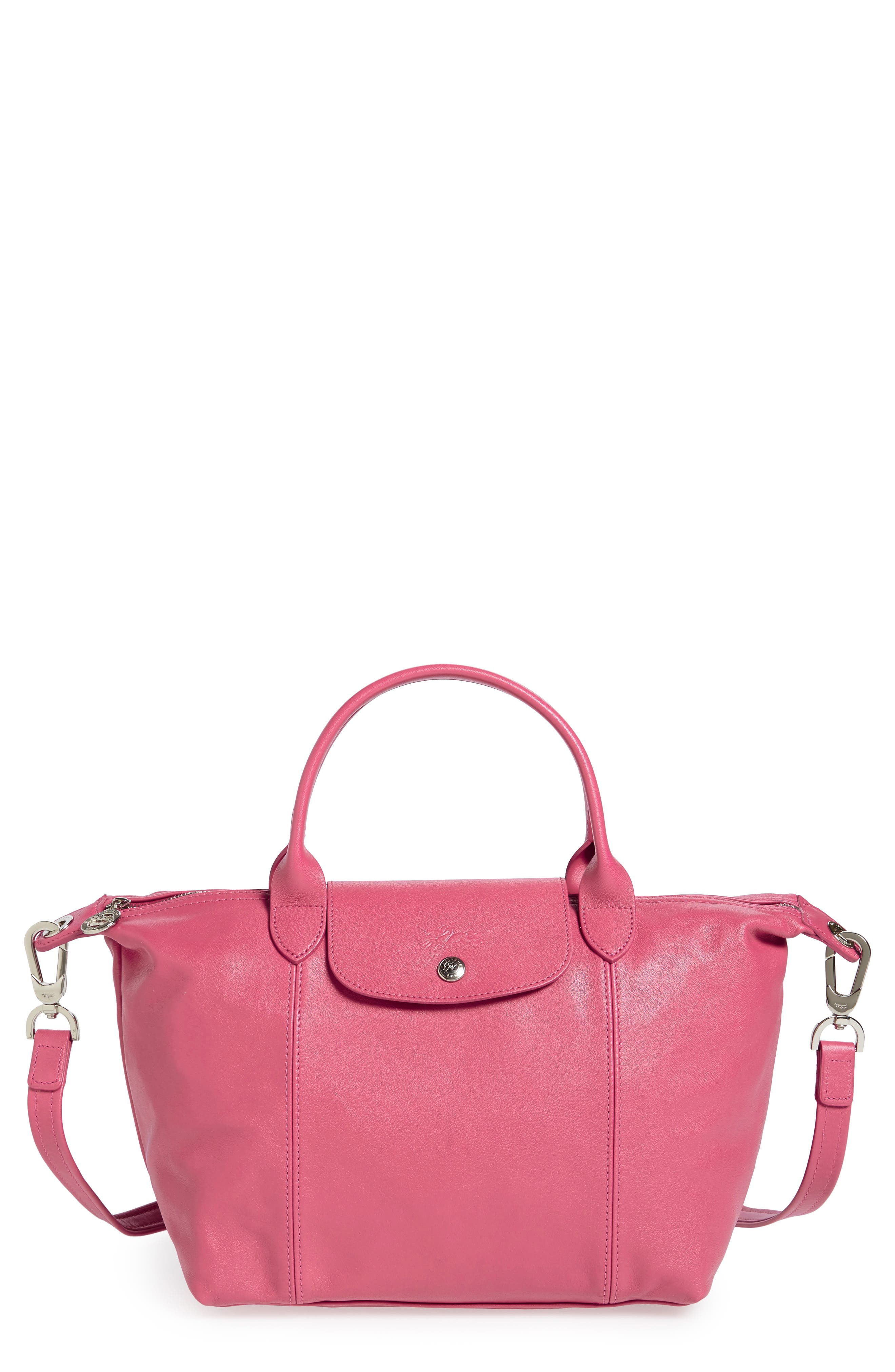 Small 'Le Pliage Cuir' Leather Top Handle Tote,                             Alternate thumbnail 41, color,