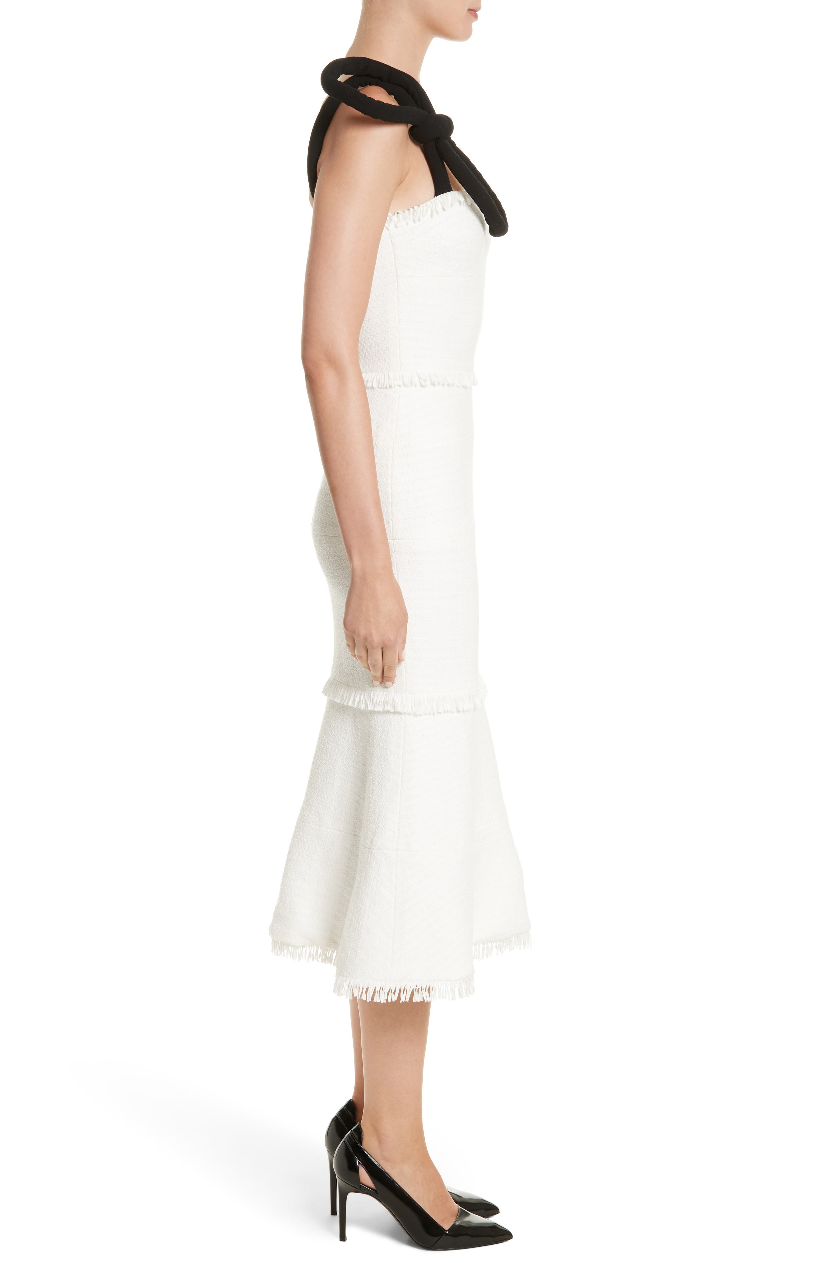 Cord Strap Ribbon Tweed Dress,                             Alternate thumbnail 3, color,                             900
