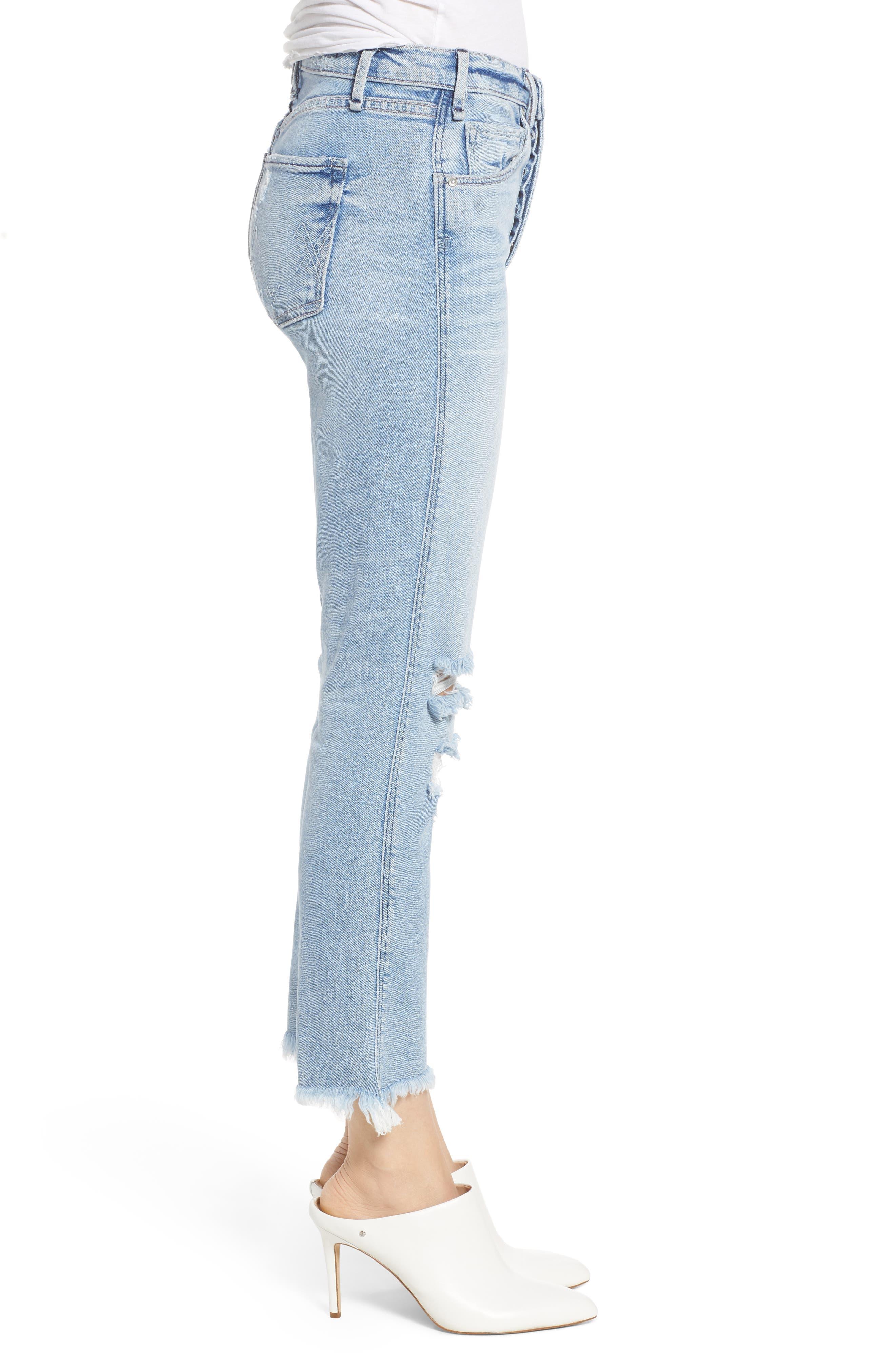 Valetta High Waist Crop Straight Leg Jeans,                             Alternate thumbnail 3, color,                             450