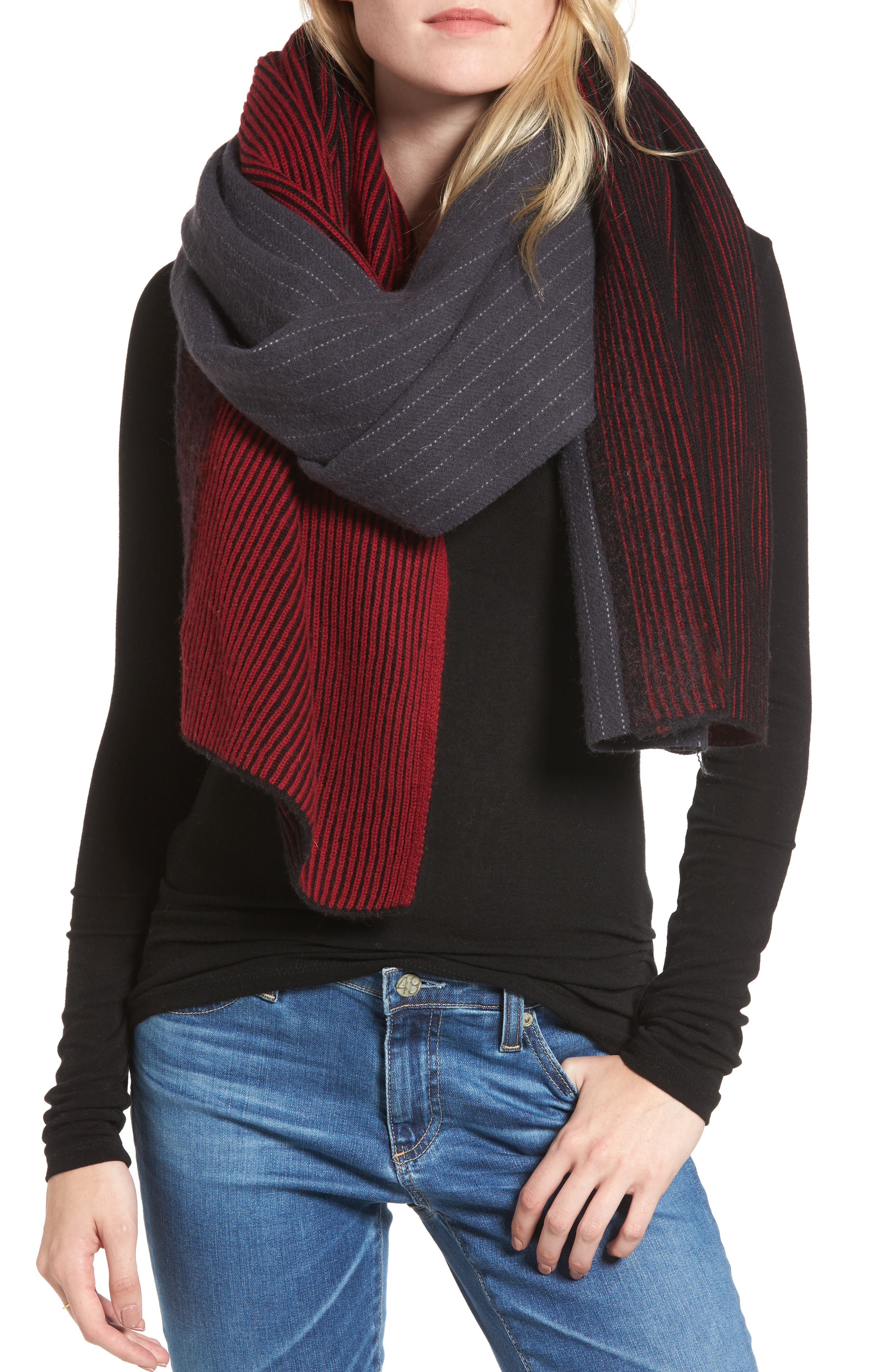 Pinstripe Wool & Cashmere Scarf,                             Main thumbnail 1, color,                             400