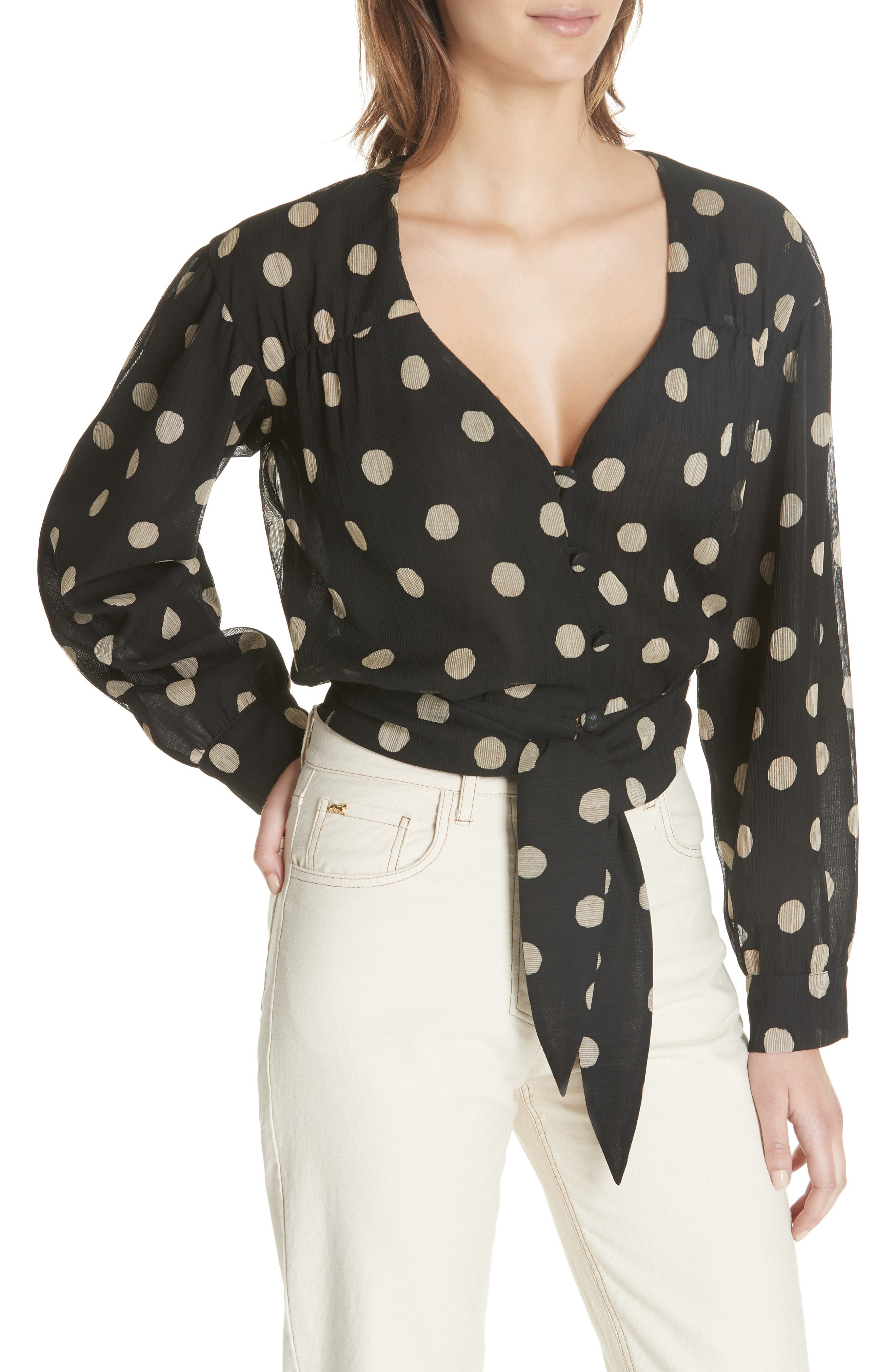 NANUSHKA,                             Amulet Polka Dot Tech Chiffon Blouse,                             Alternate thumbnail 4, color,                             001