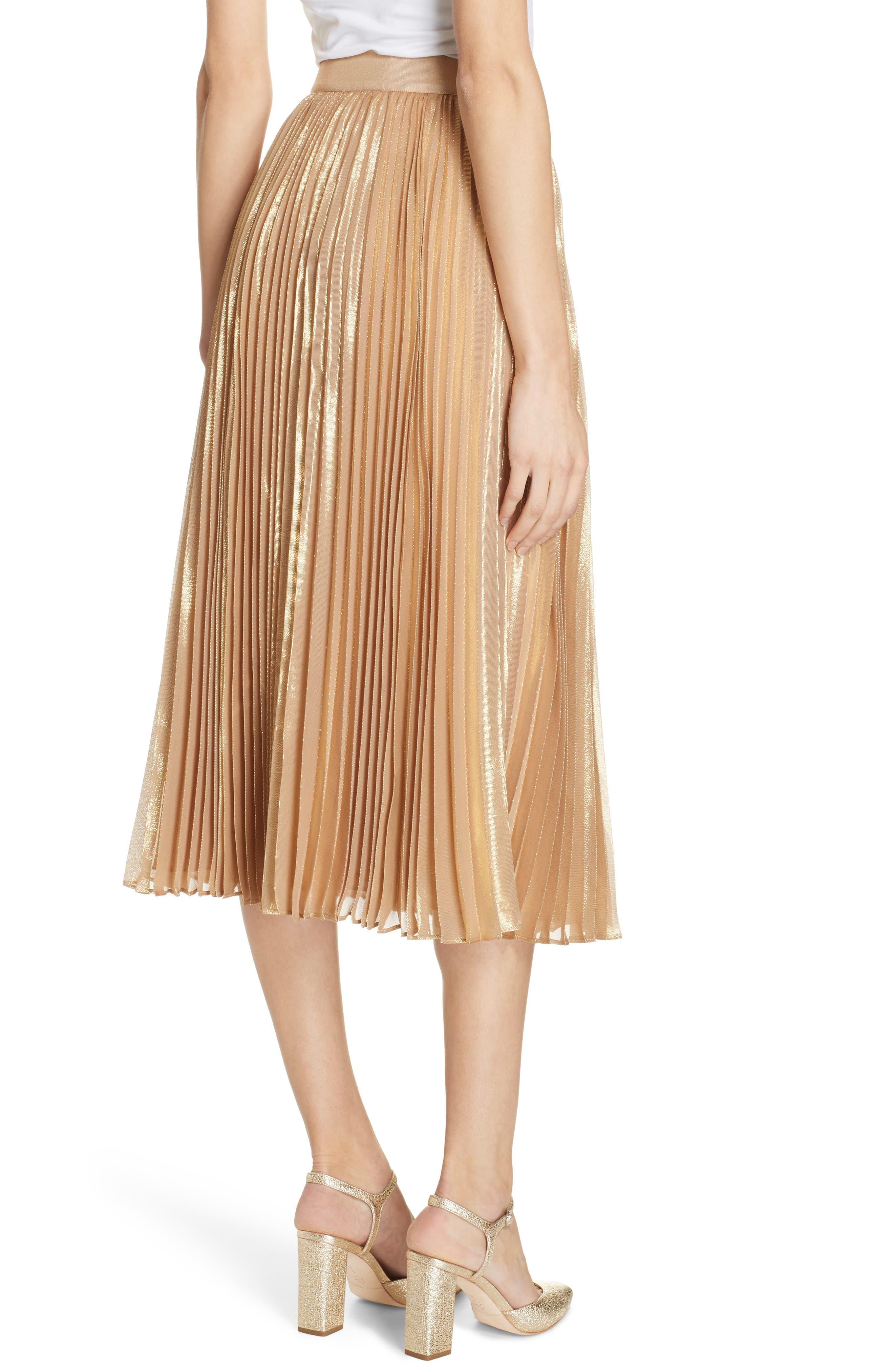 pleat metallic pleat midi skirt,                             Alternate thumbnail 2, color,                             ROASTED PEANUT