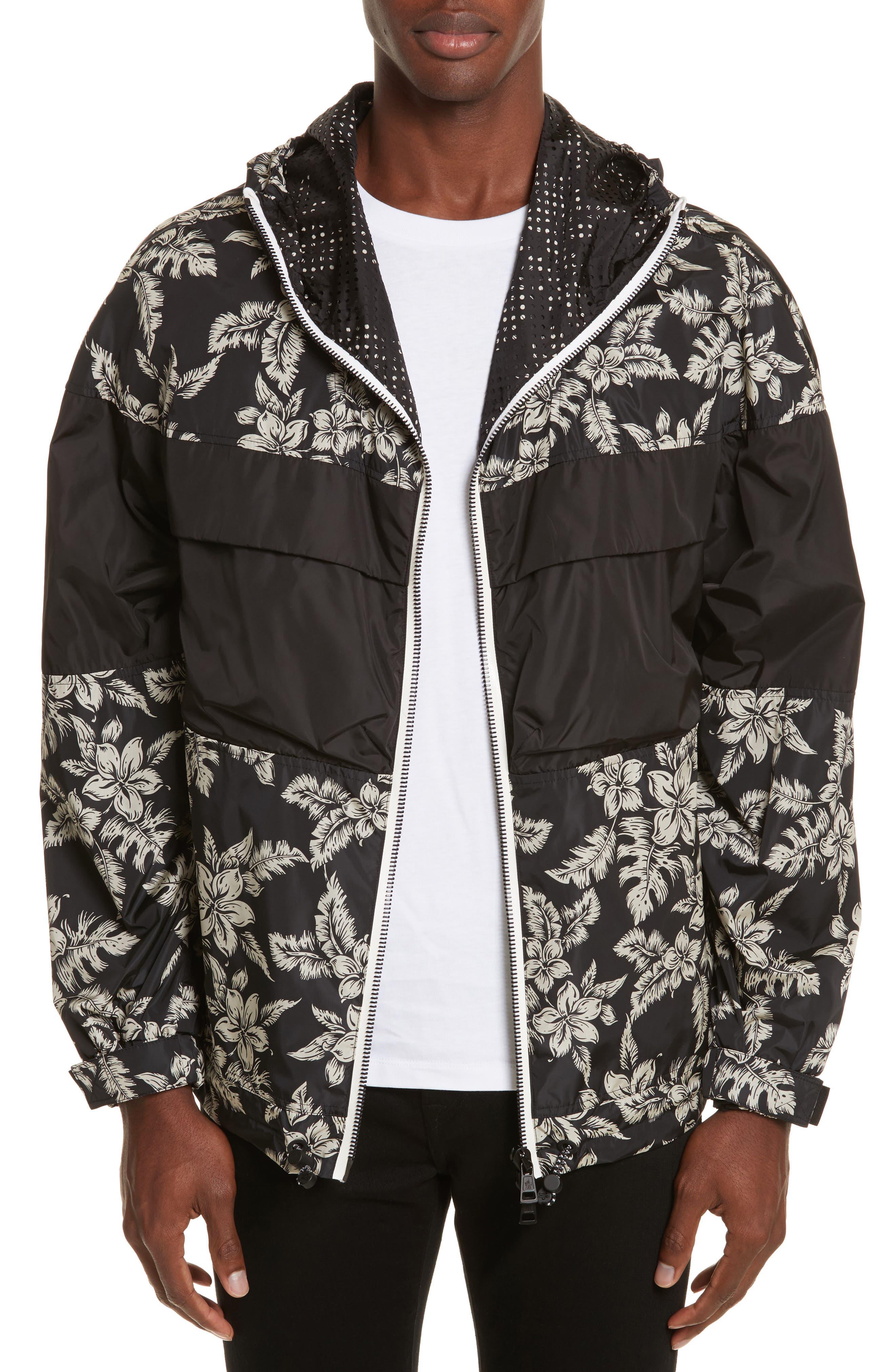 Thiou Floral Print Jacket,                             Main thumbnail 1, color,                             BLACK