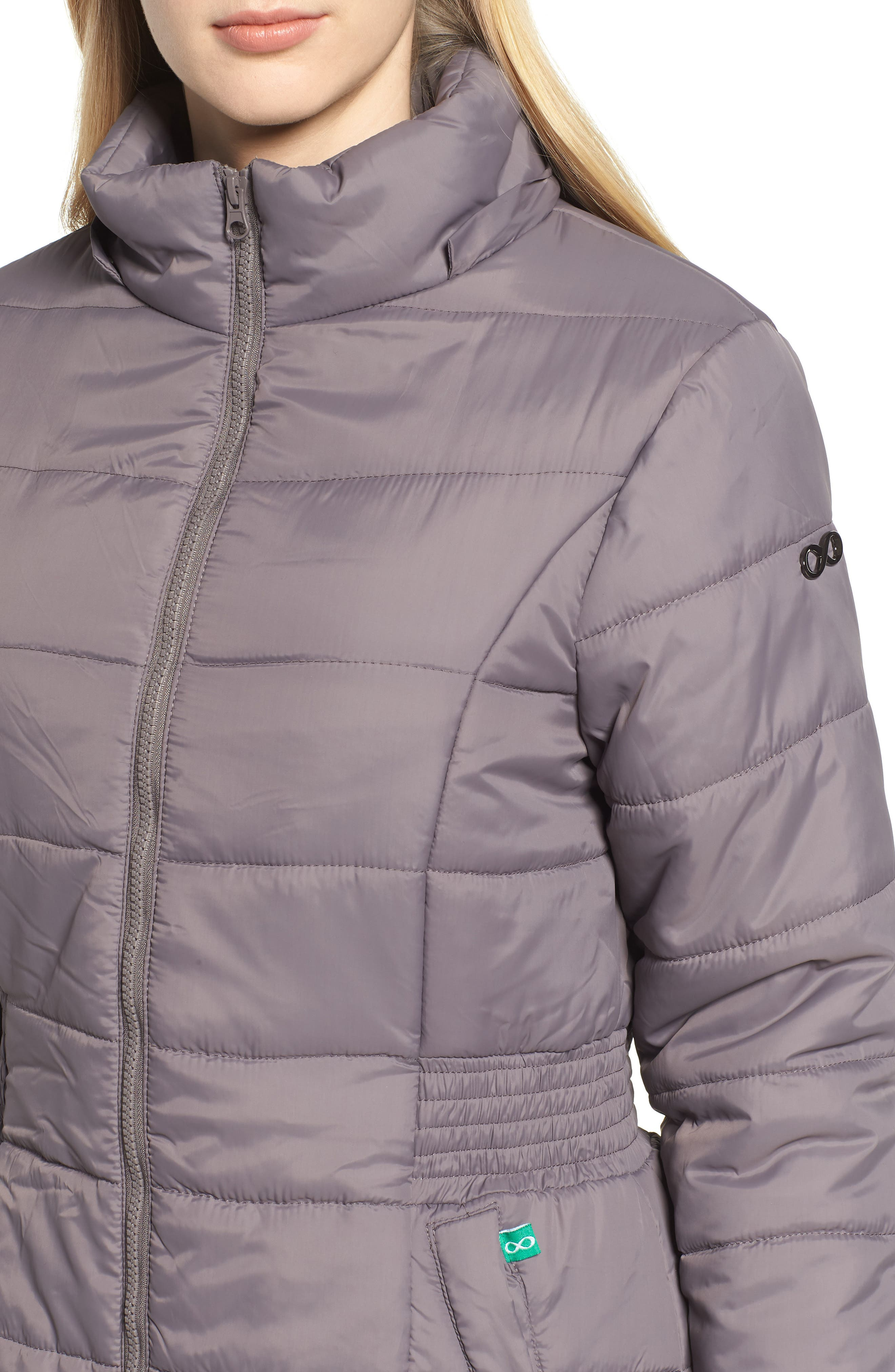 Madison Quilted 3-in-1 Maternity Puffer Coat with Faux Fur Trim,                             Alternate thumbnail 6, color,                             GREY