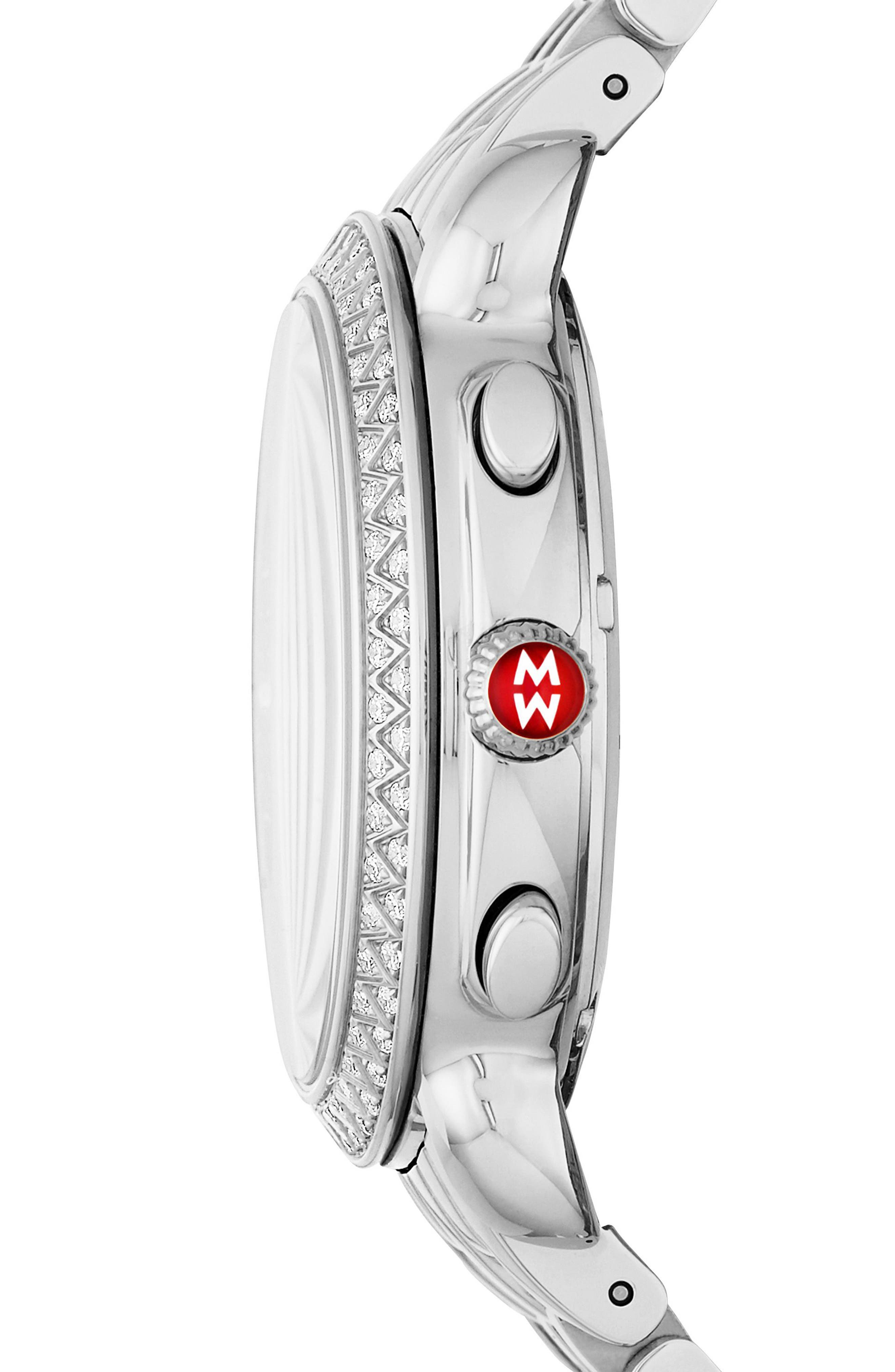 Sidney Chrono Diamond Diamond Dial Watch Case, 38mm,                             Alternate thumbnail 2, color,                             SILVER/ NAVY