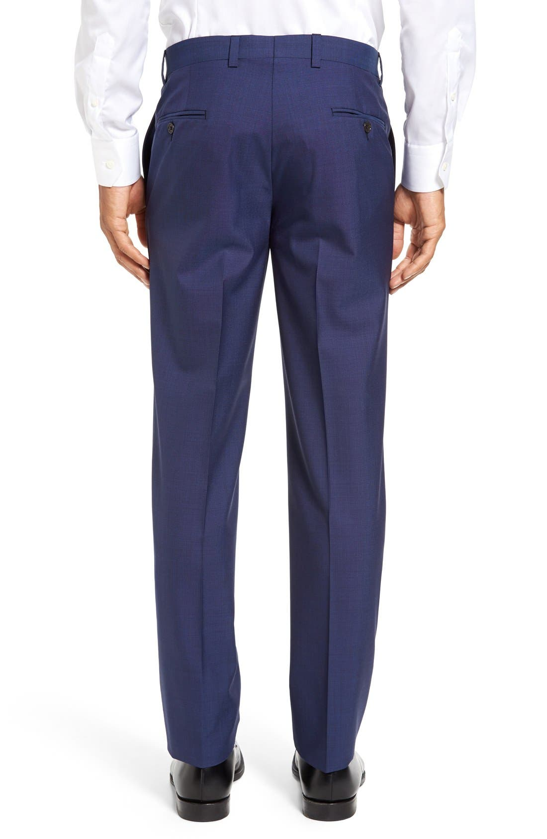 Jefferson Flat Front Solid Wool Trousers,                             Alternate thumbnail 8, color,                             BLUE