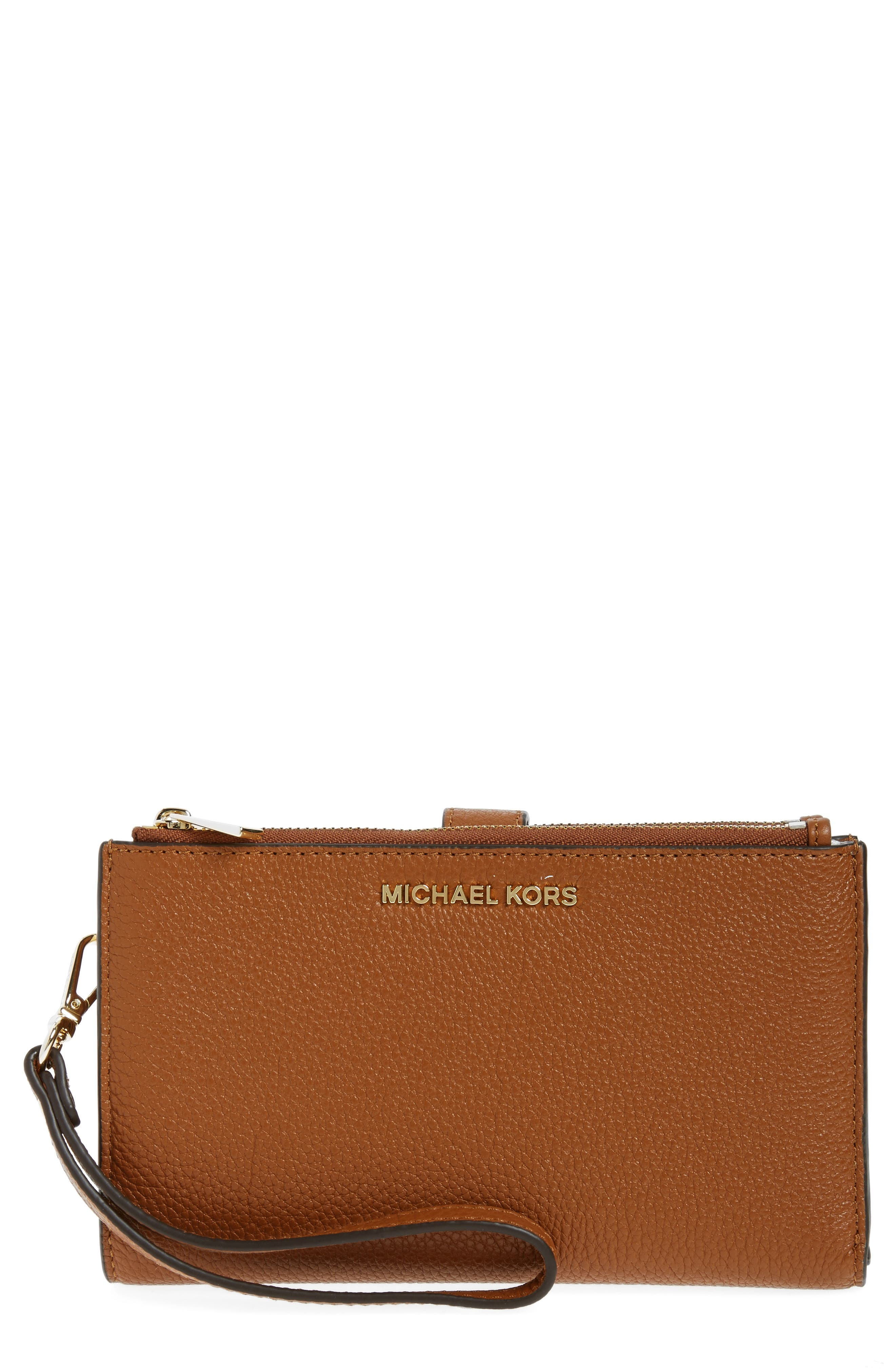 Adele Leather Wristlet,                             Main thumbnail 7, color,