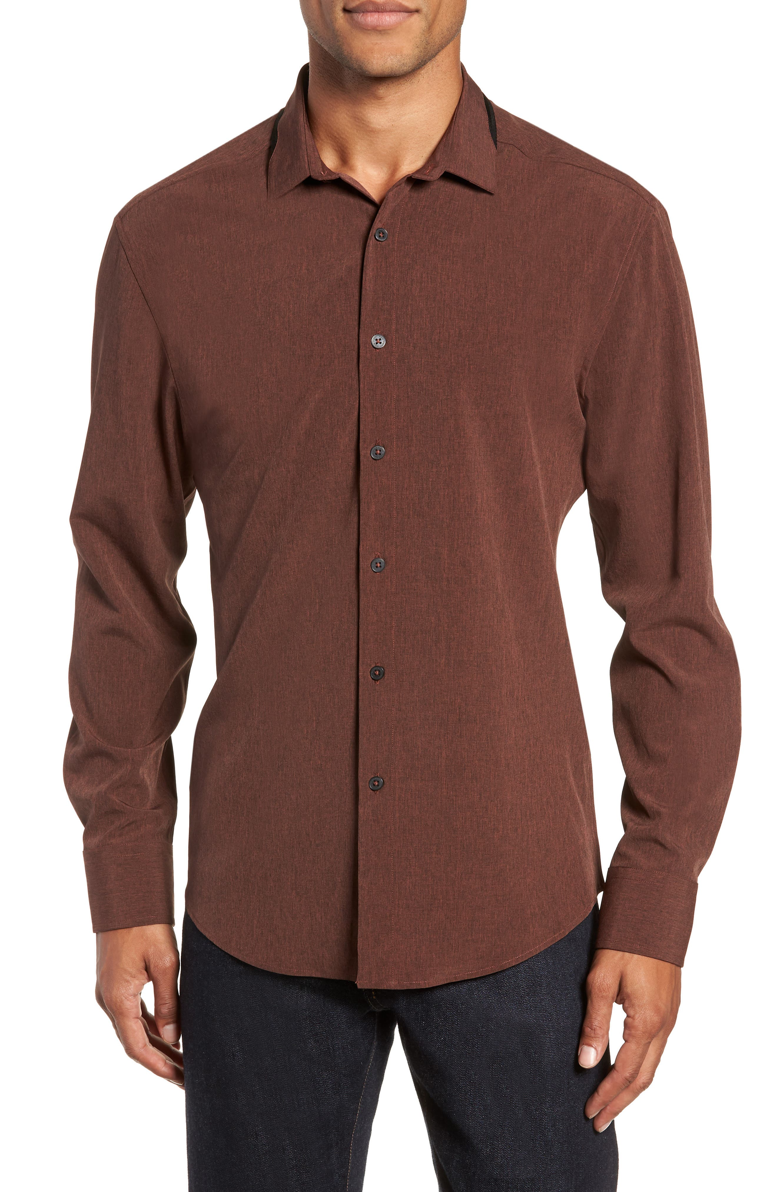 Long Sleeve Performance Sport Shirt,                         Main,                         color, HENNA SCRATCH